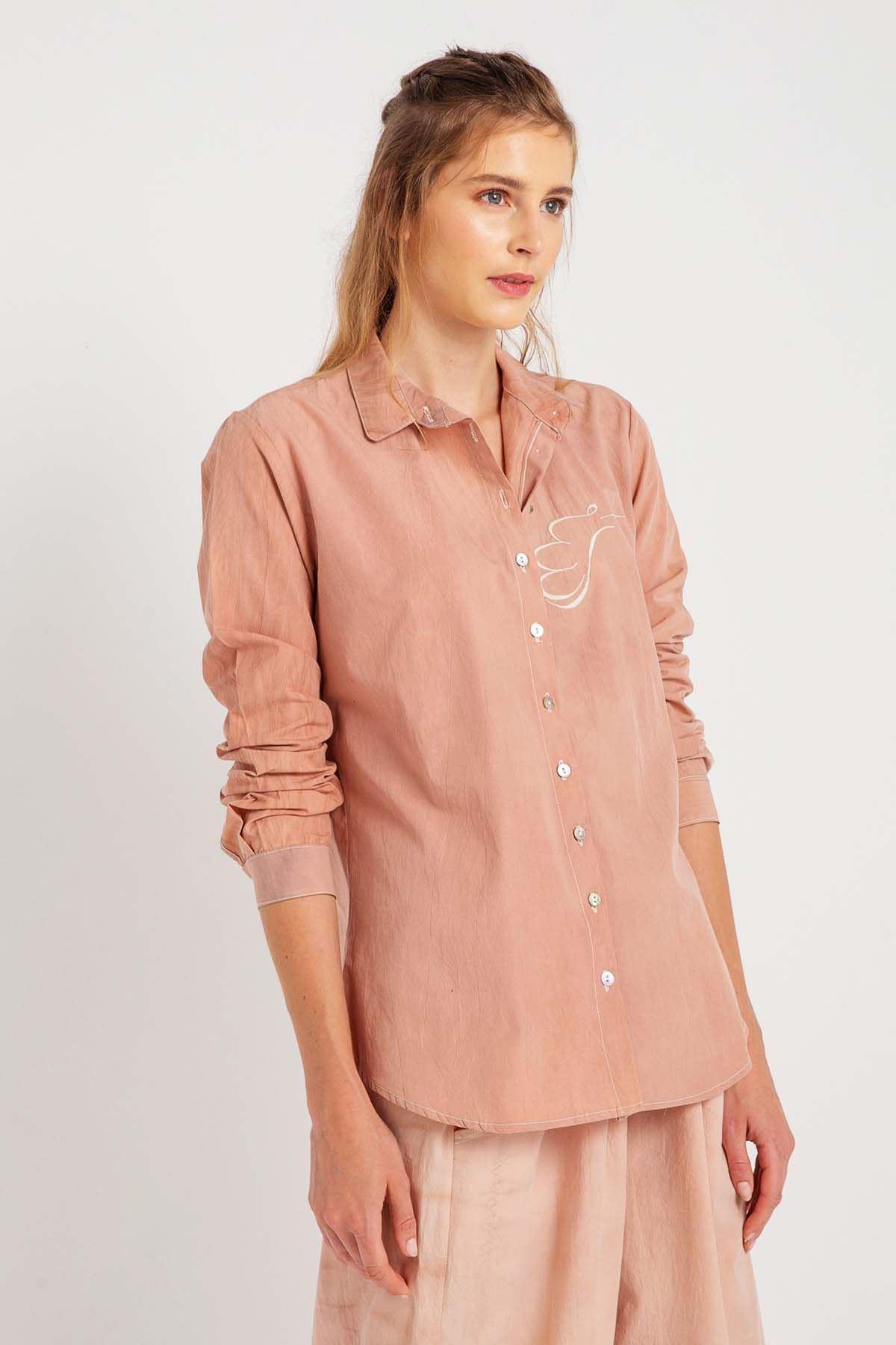Zarif - Uzun Kollu Kadın Gömlek Nakışlı K0705