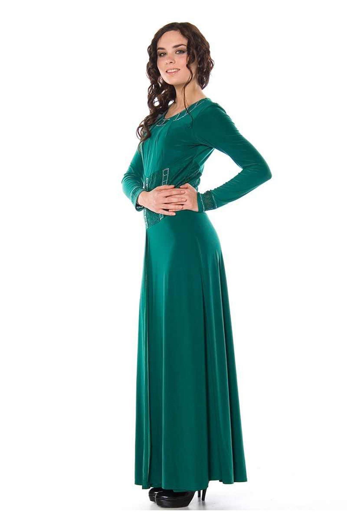 Zümrüt Yeşili Taşlı Elbise H2-82313