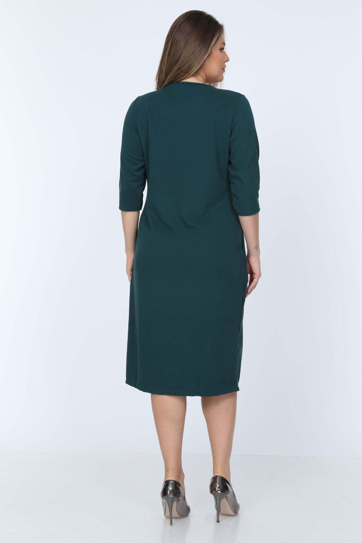 Cepli Yeşil Elbise 11A-0714