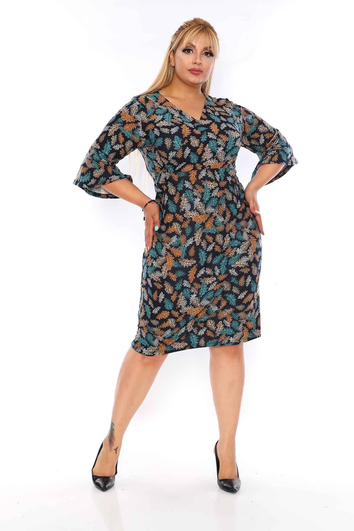 Kruvaze Yakalı Desenli Elbise 5A-0739