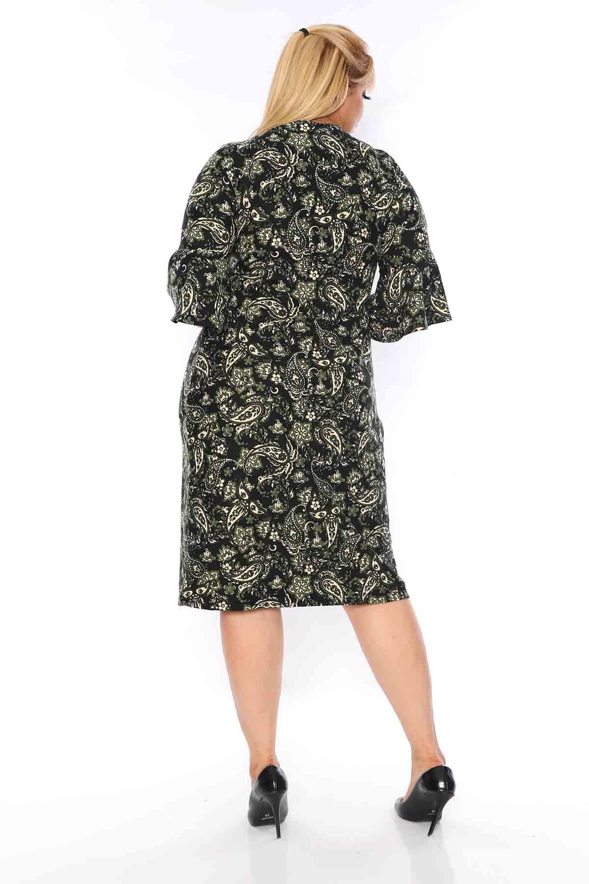 Kruvaze YakaYeşil Desenli Elbise 5D-0744