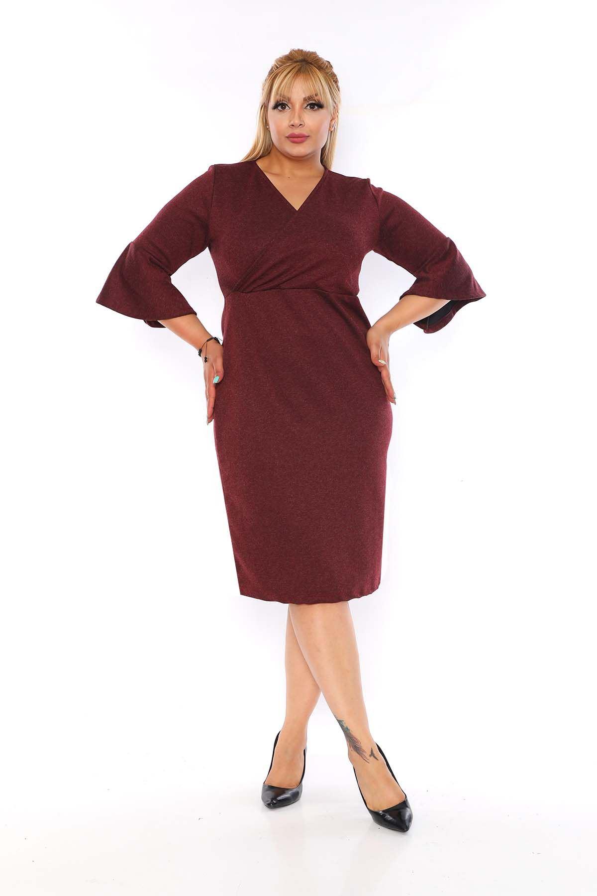 Kruvaze Yaka Bordo Elbise 2C-0754