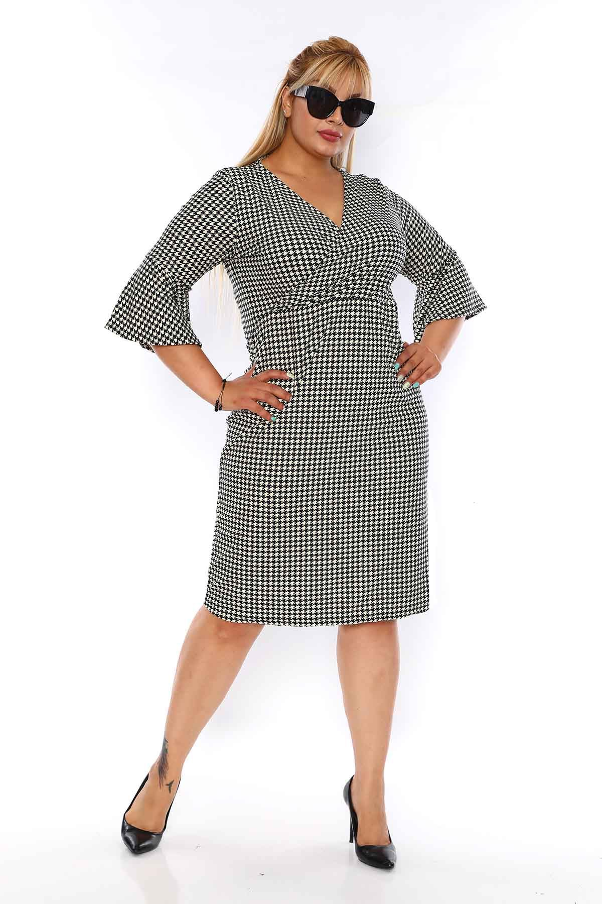 Kazayağı Desenli Elbise 3D-0756