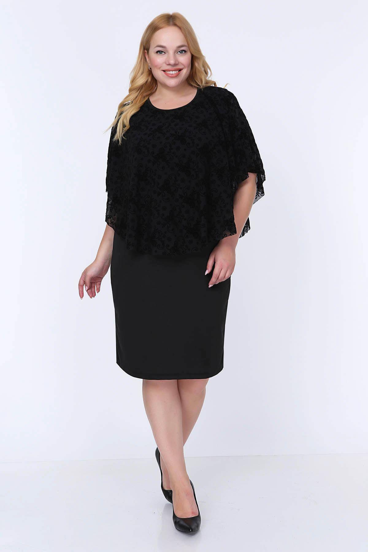 Flok Tül Şallı Elbise 12E-0790