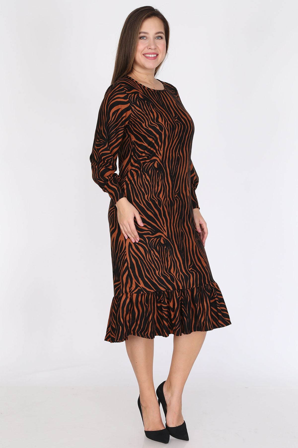Manşet Kollu Safran Elbise 23D-0793