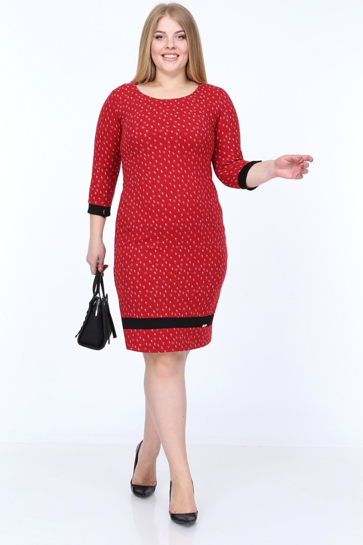 Kırmızı Siyah Elbise 18E-0806