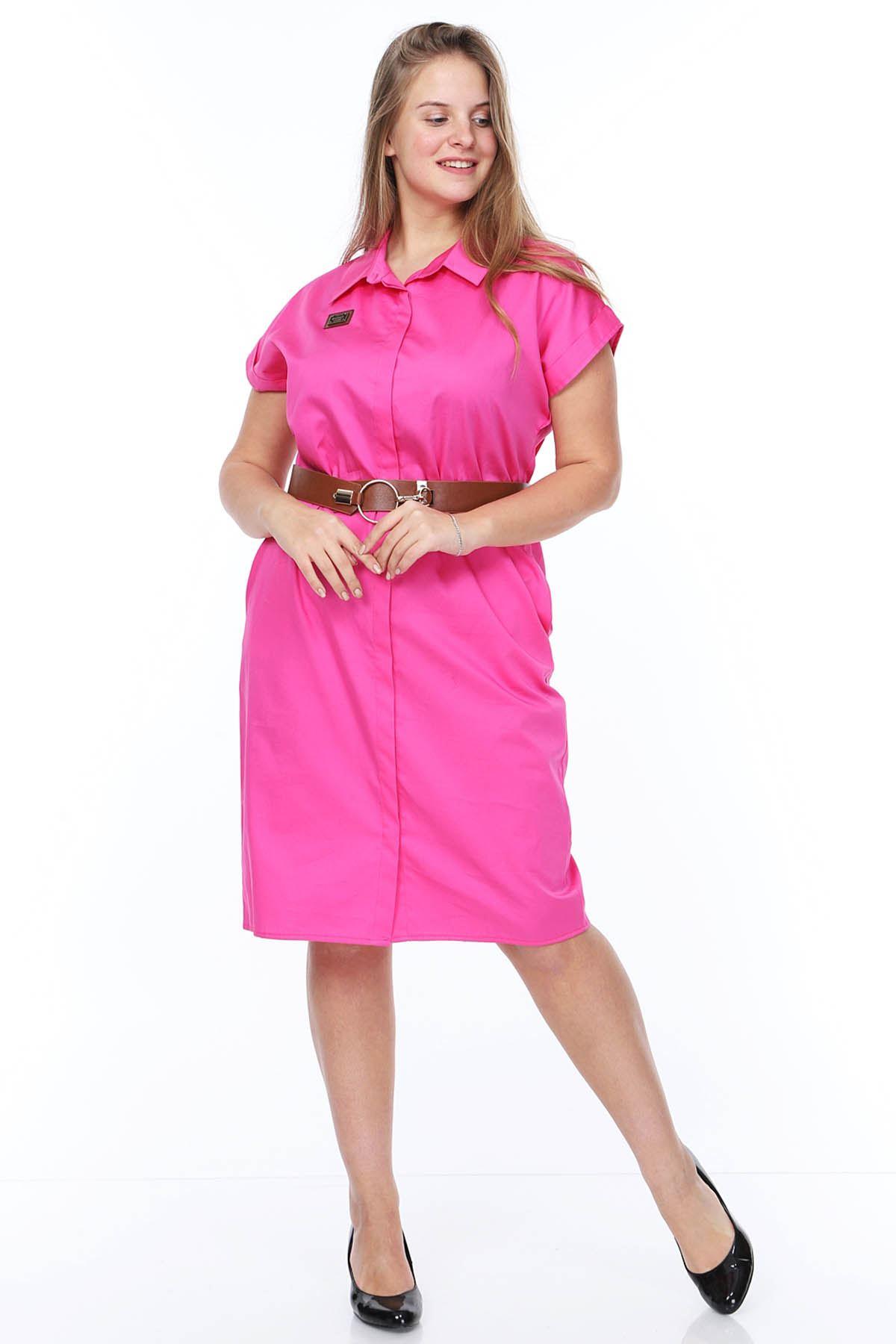 Kemerli Gömlek Elbise 20Y-0879