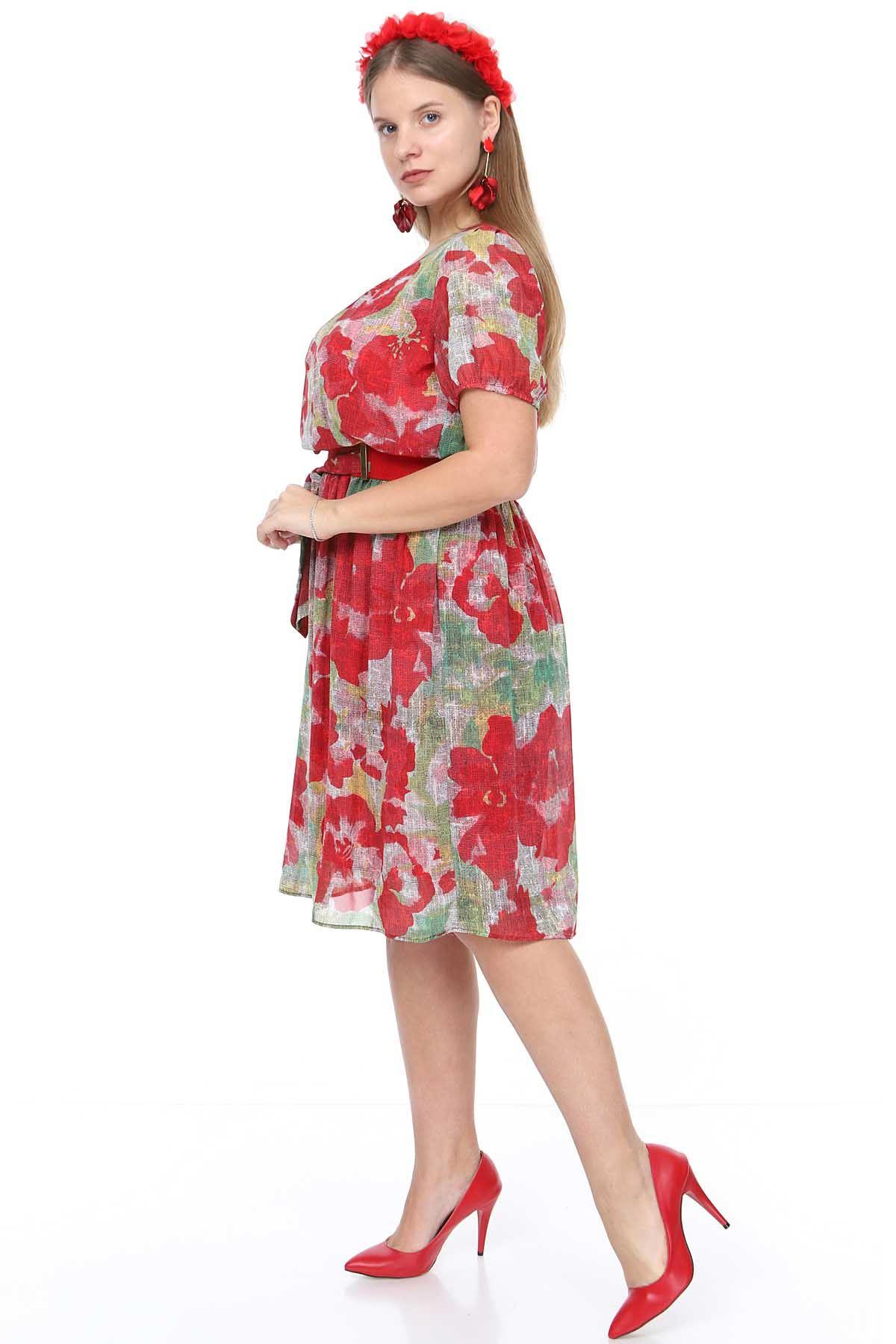Nar Çiçeği Şifon Elbise 7C-0910