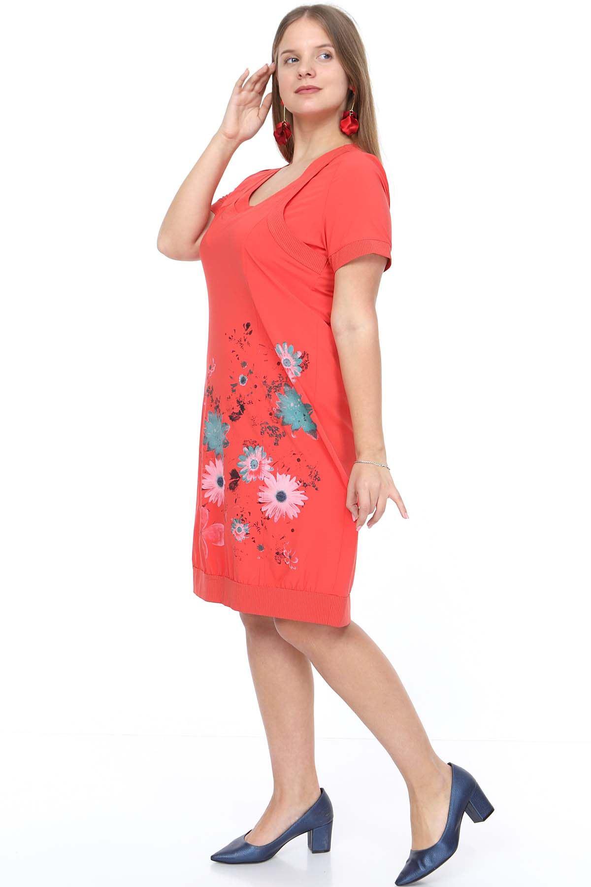 Yazlık Baskılı Mercan Elbise 20Y-0918