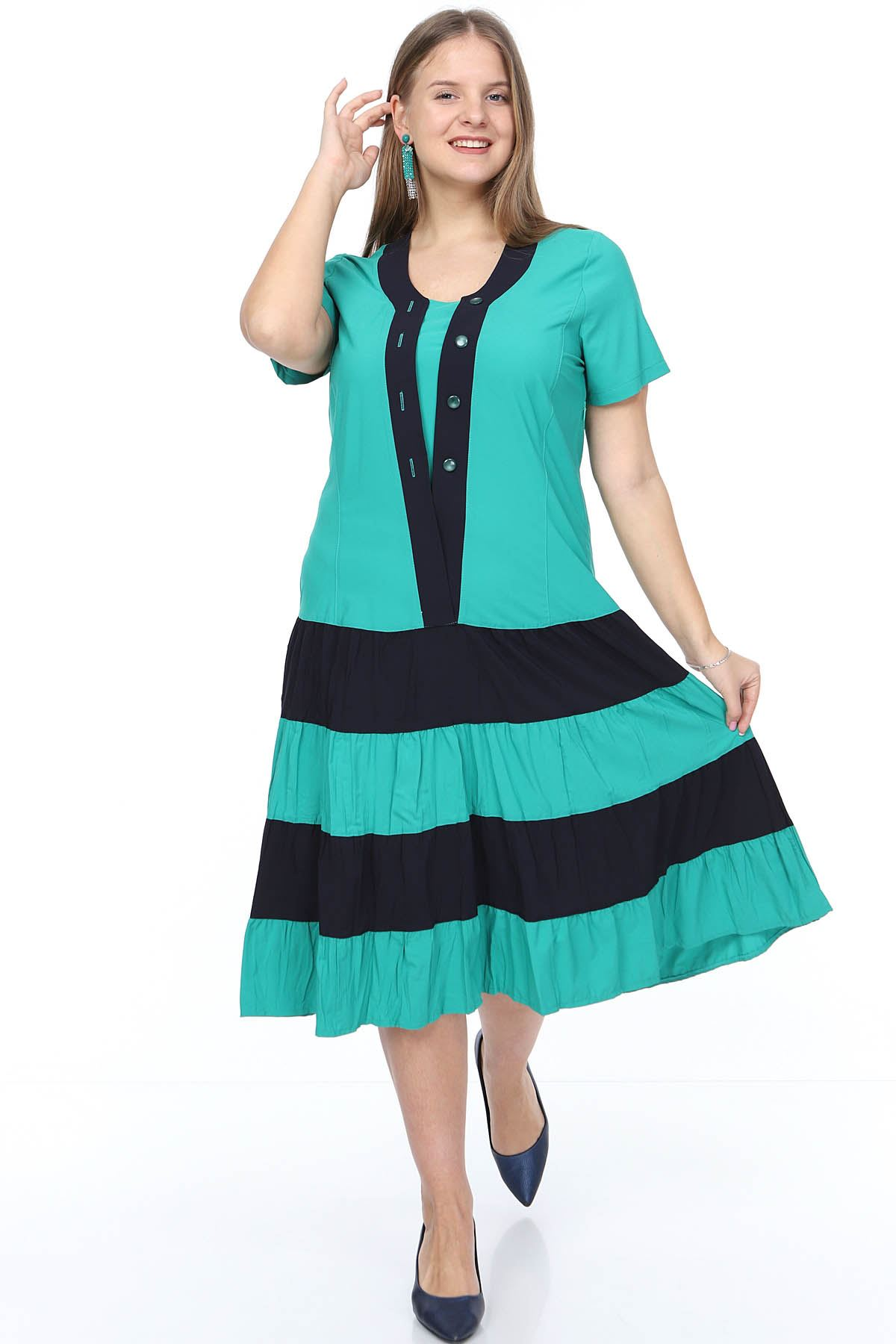 Eteği Kloş Yeşil Elbise 20Y-0880