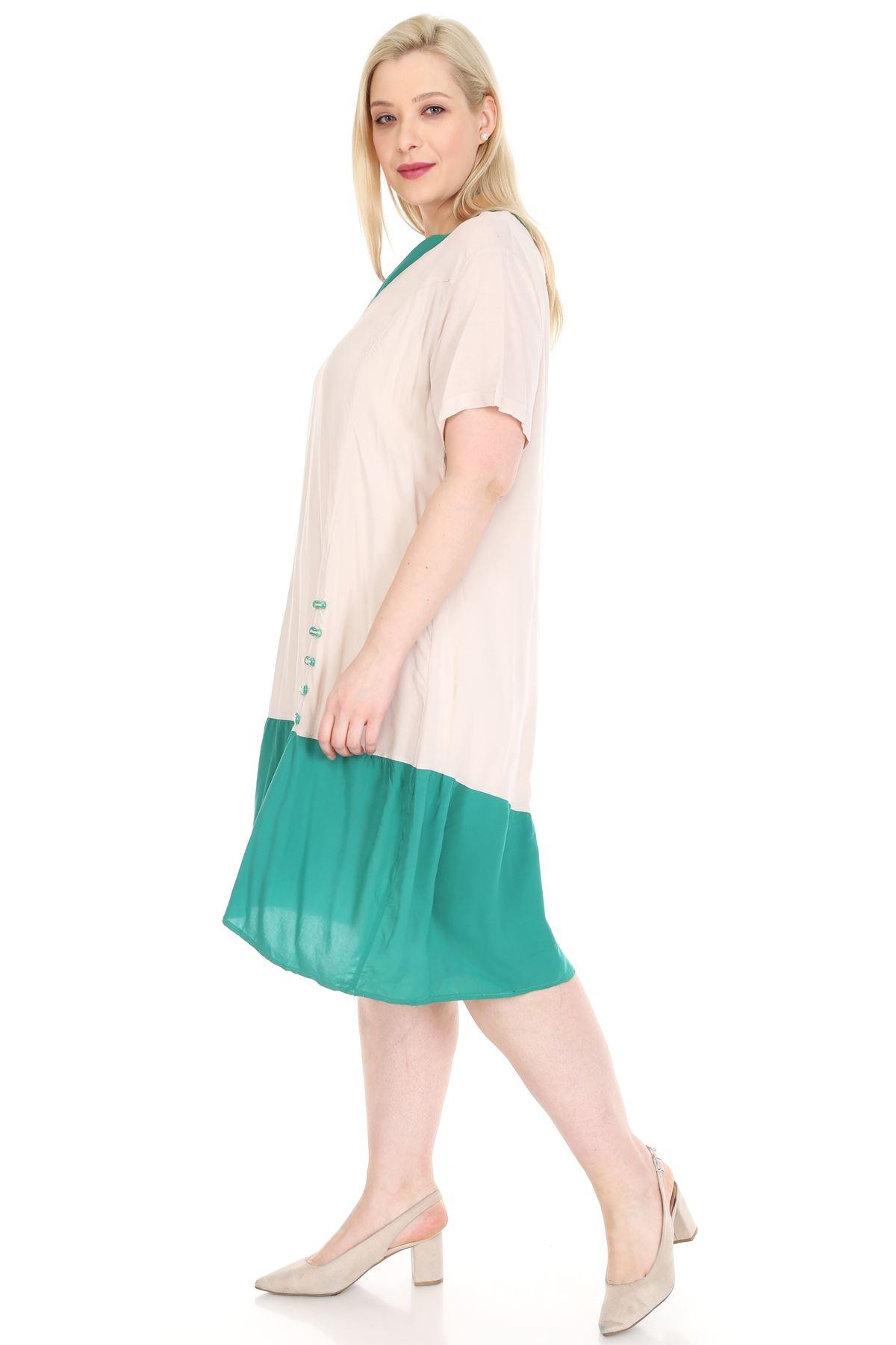 Yeşil Bej Baskılı Elbise 1A-0932