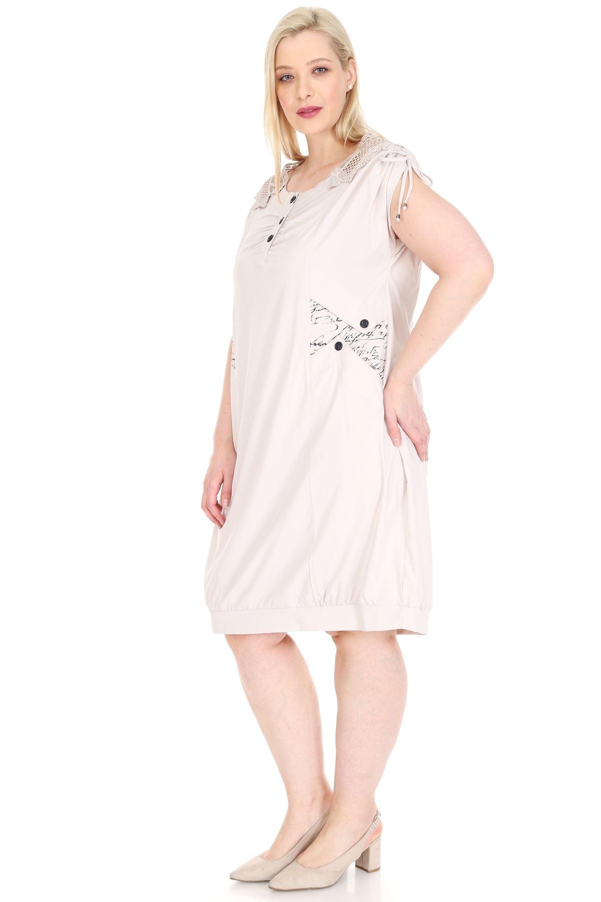 Gipür Detaylı Bej Elbise 5C-0929