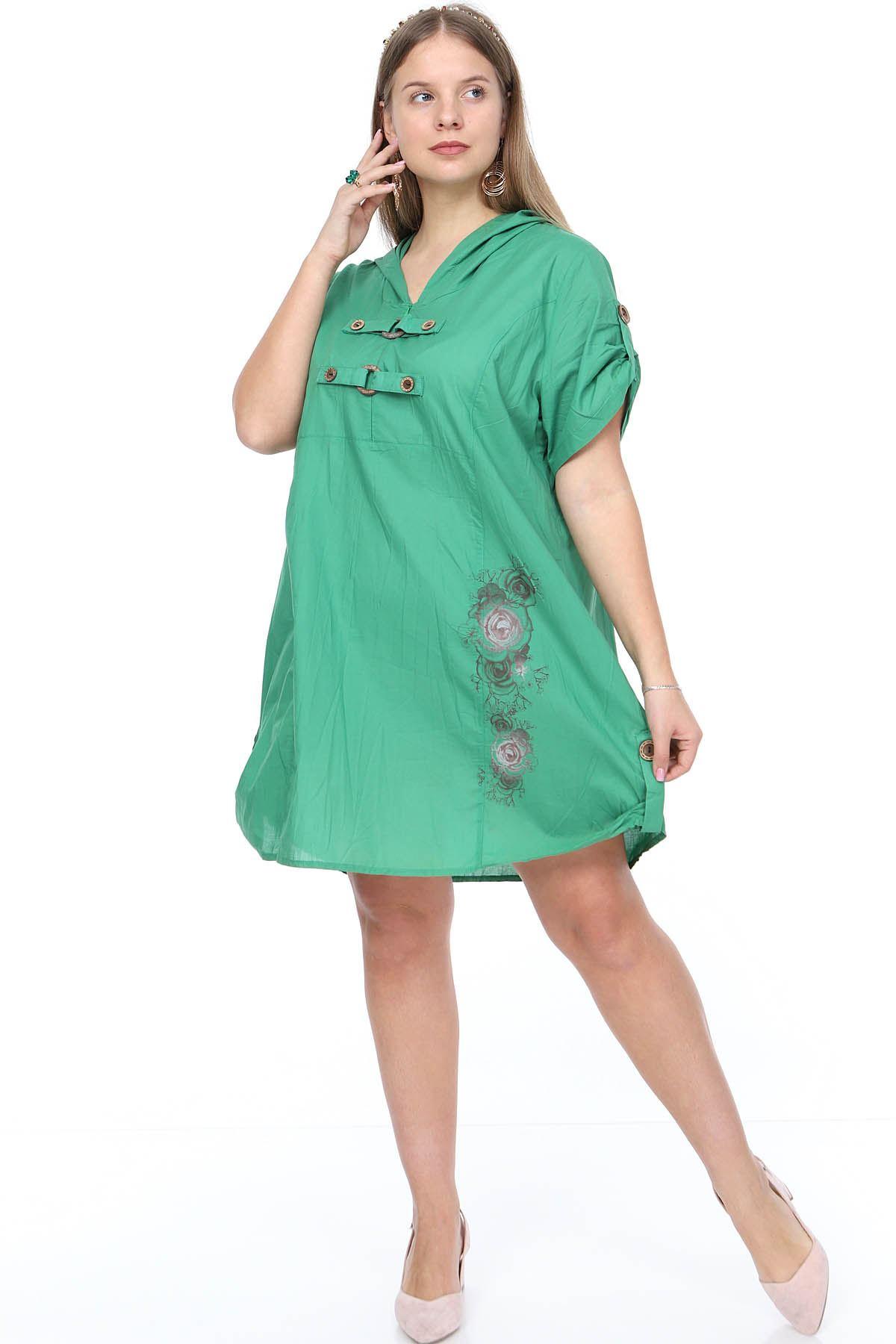 Yeşil Gömlek Elbise 15F-0904
