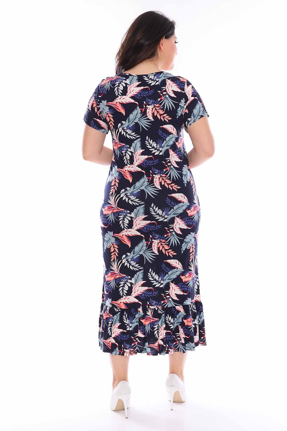 Lacivert Fırfırlı Elbise 29E-0961