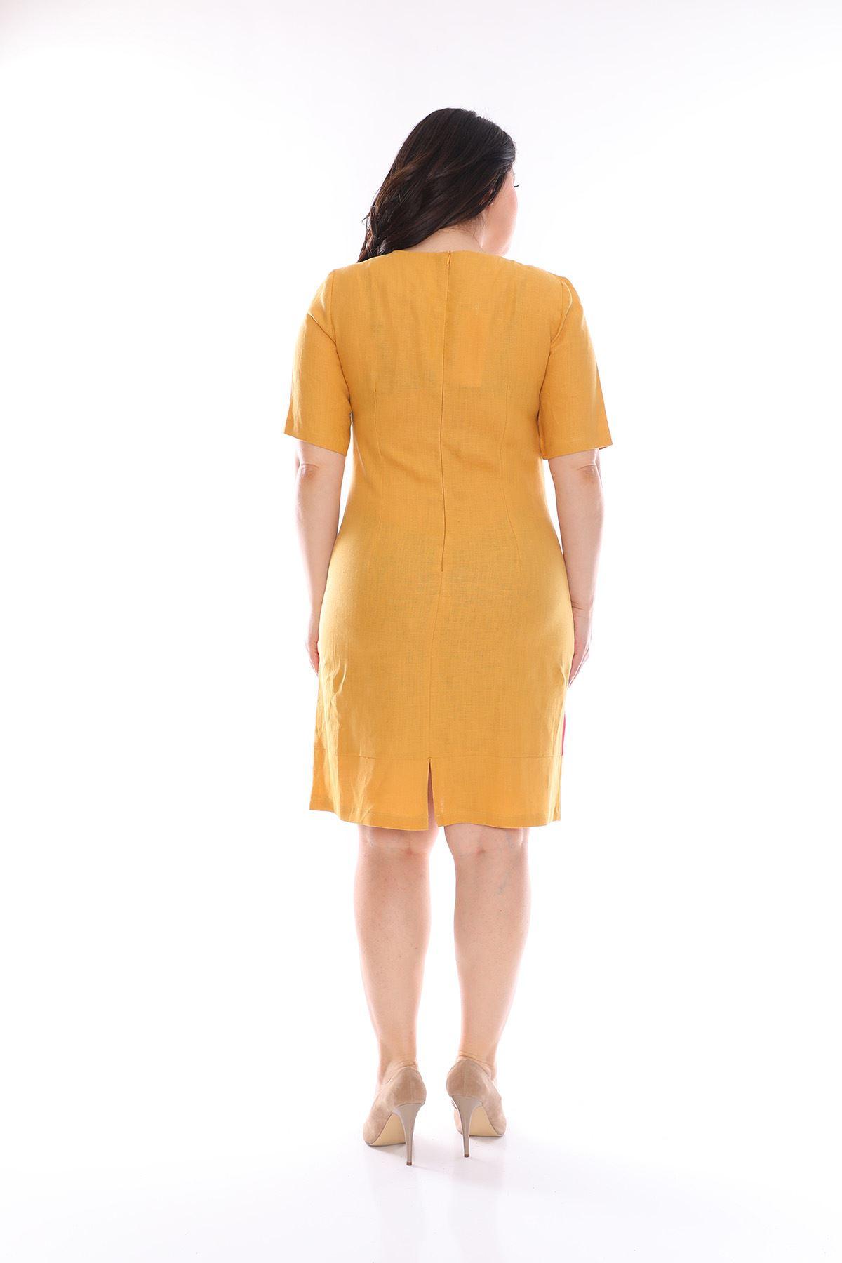 Kısakol Keten Elbise H3-0977