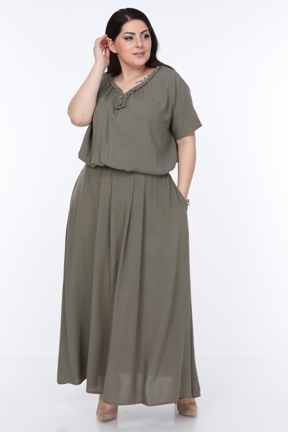 Haki Uzun Elbise 7C-0998