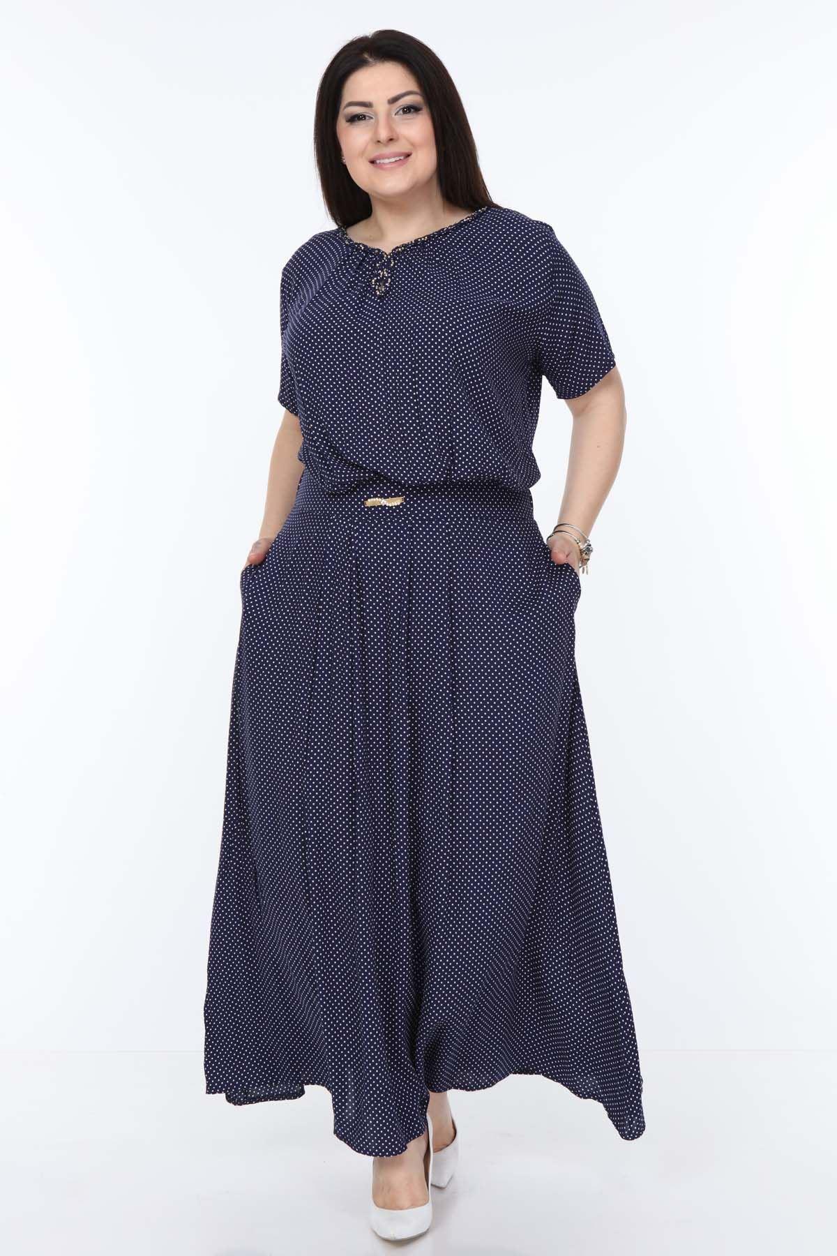 Puanlı Uzun Elbise 21A-1057