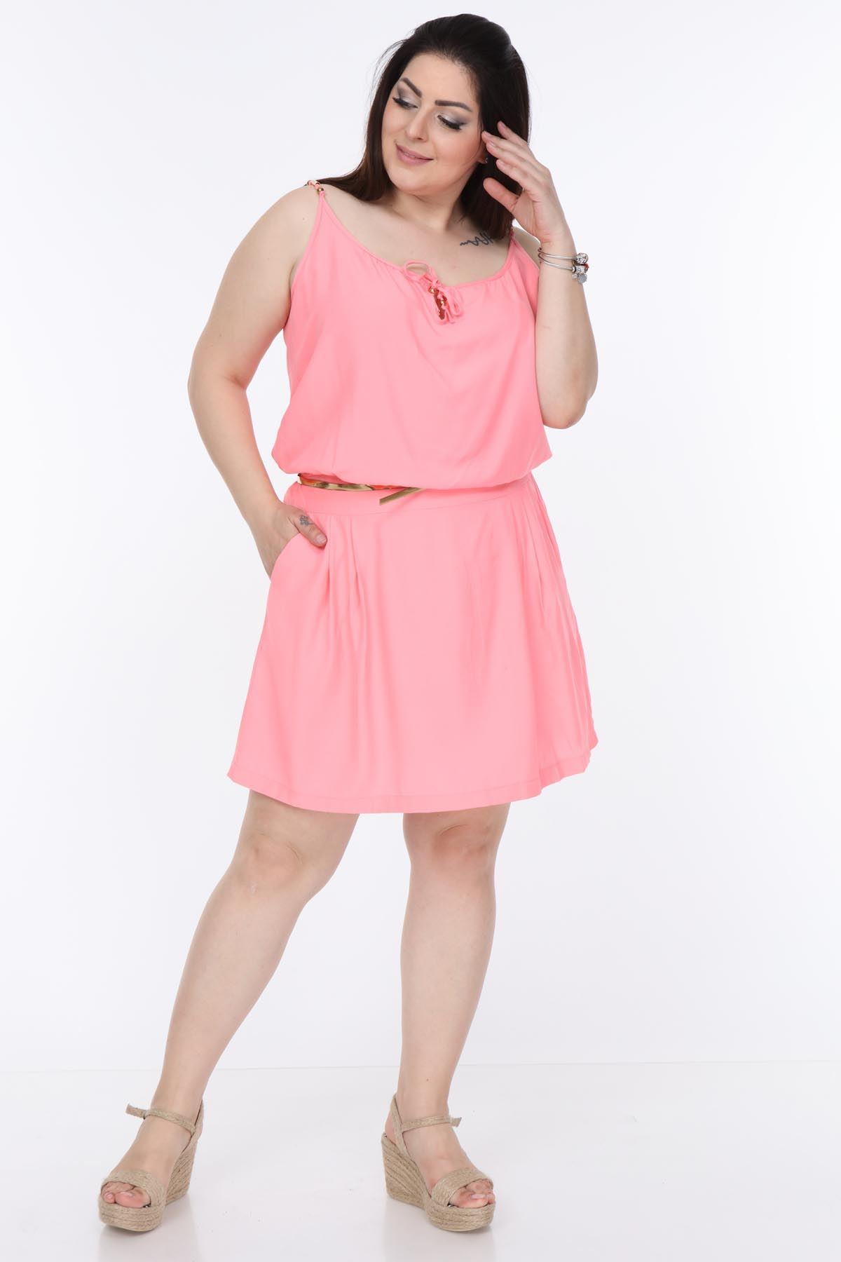 Pembe Askılı Elbise 21D-1055