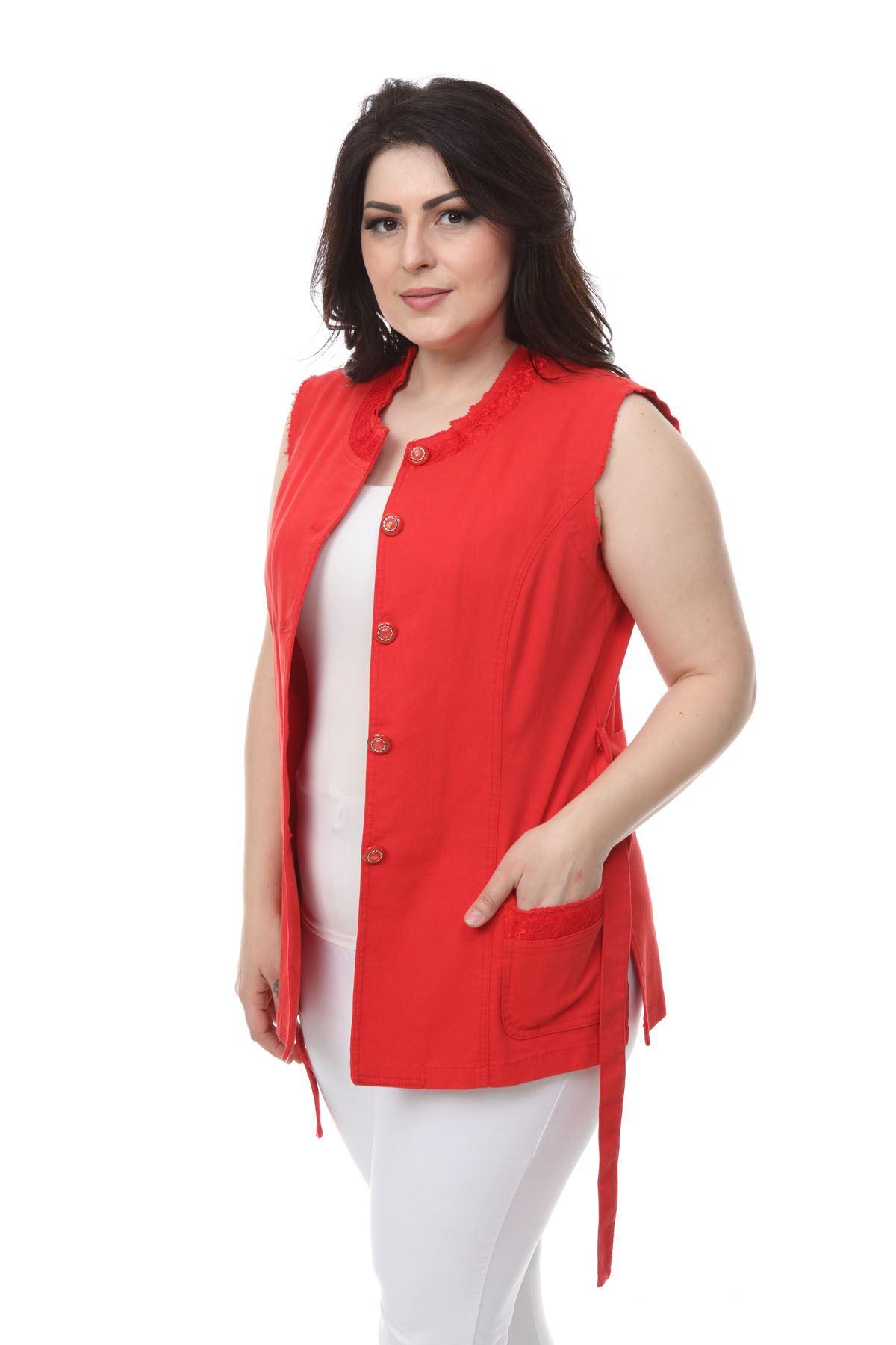Kırmızı Cepli Yelek 24E-1086