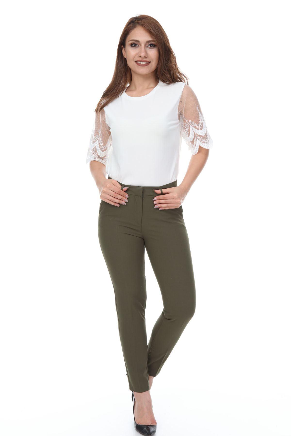 Yeşil kumaş Pantolon 26B-1098