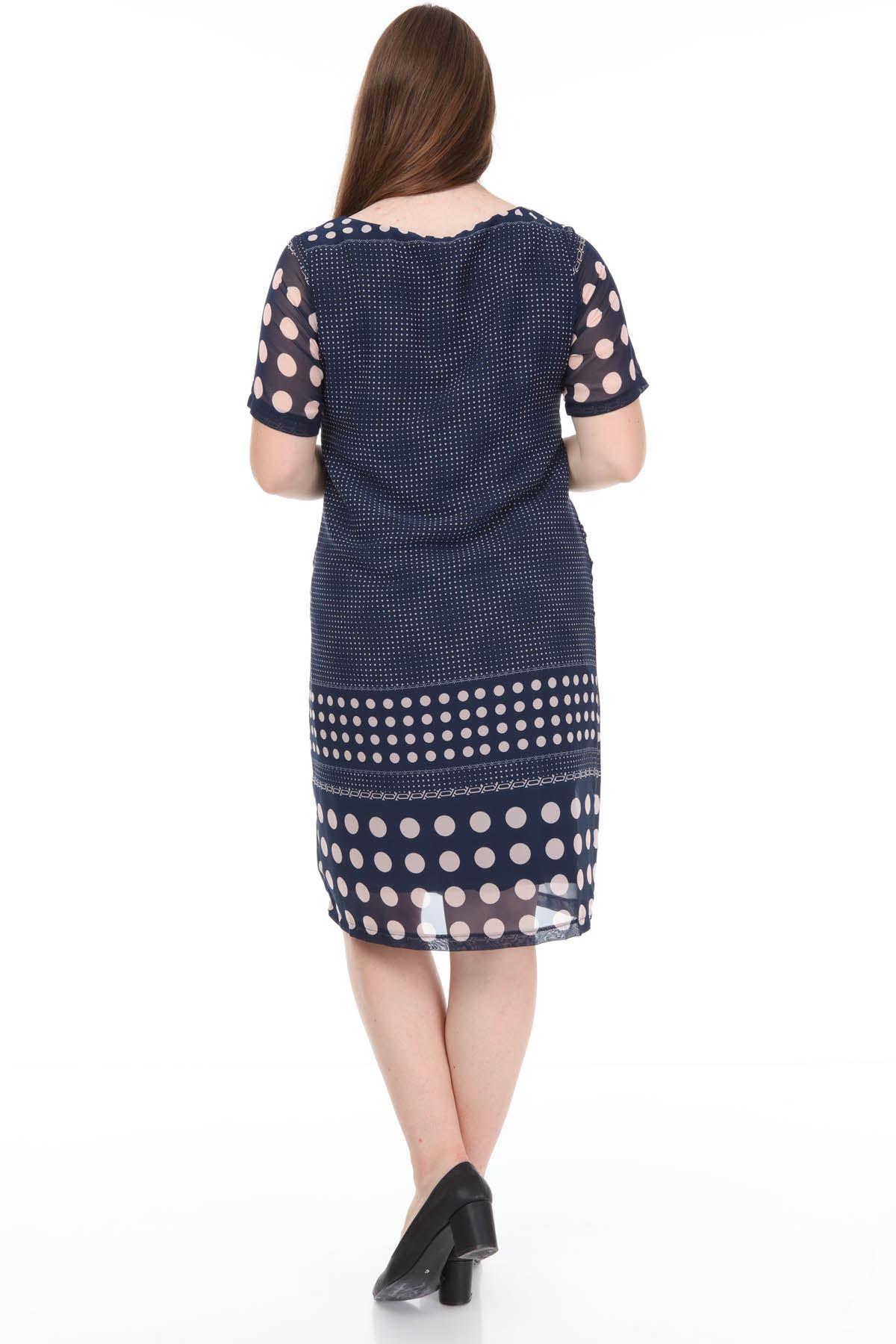 Lacivert Şifon Elbise F3-1128