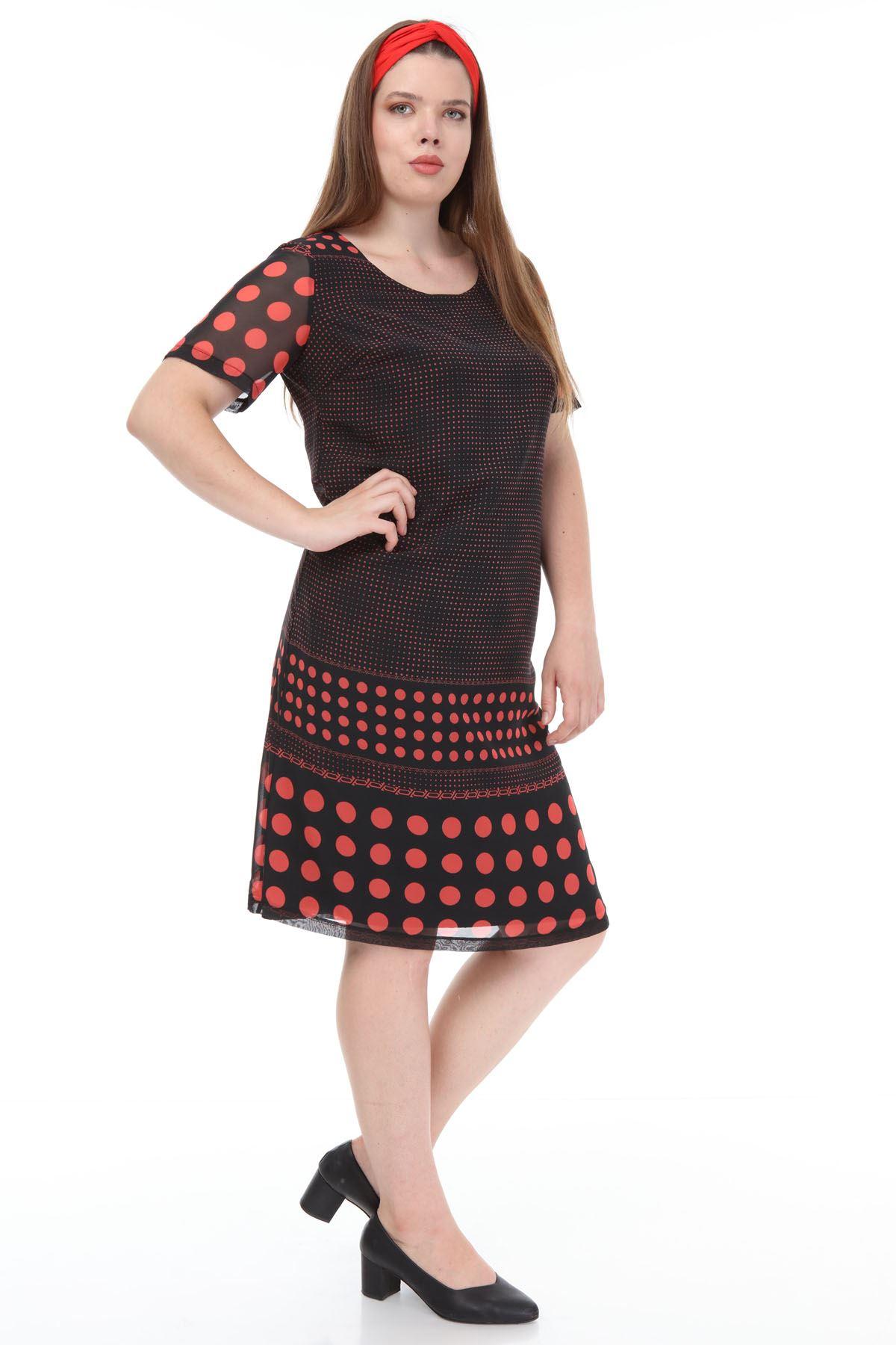 Siyah Puanlı Şifon Elbise F3-1129