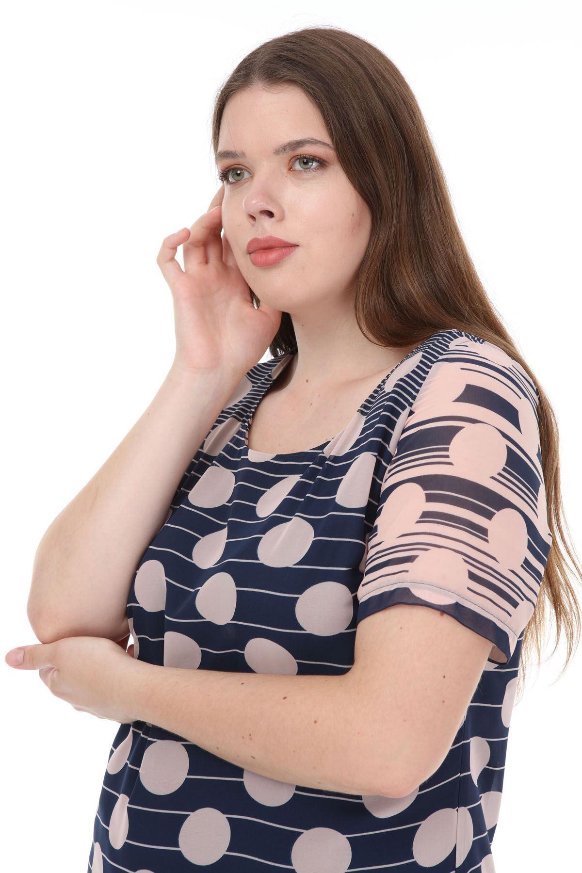 Lacivert Pudra Şifon Elbise F4-1127