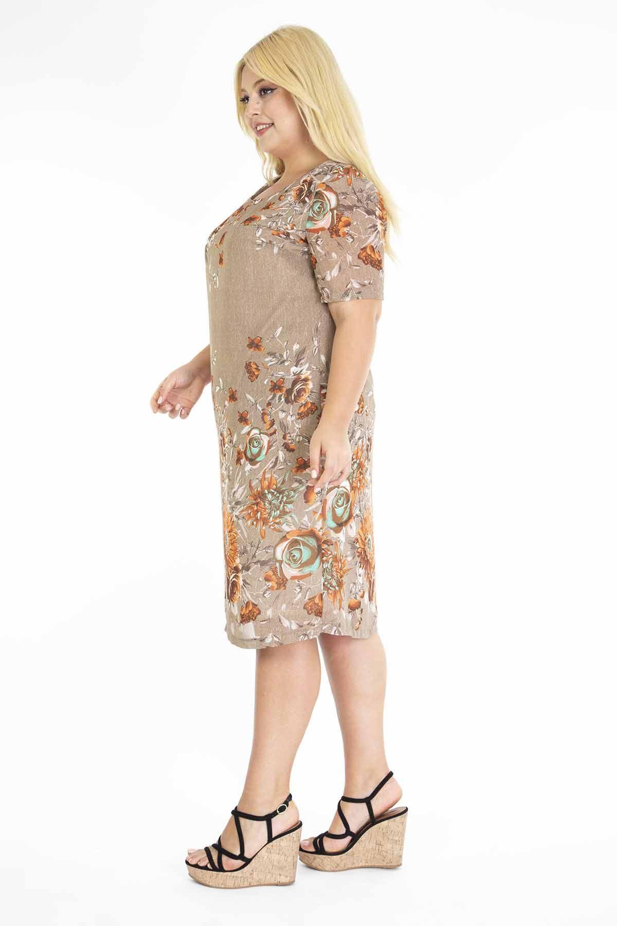 Çiçekli Şifon Elbise J3-1175