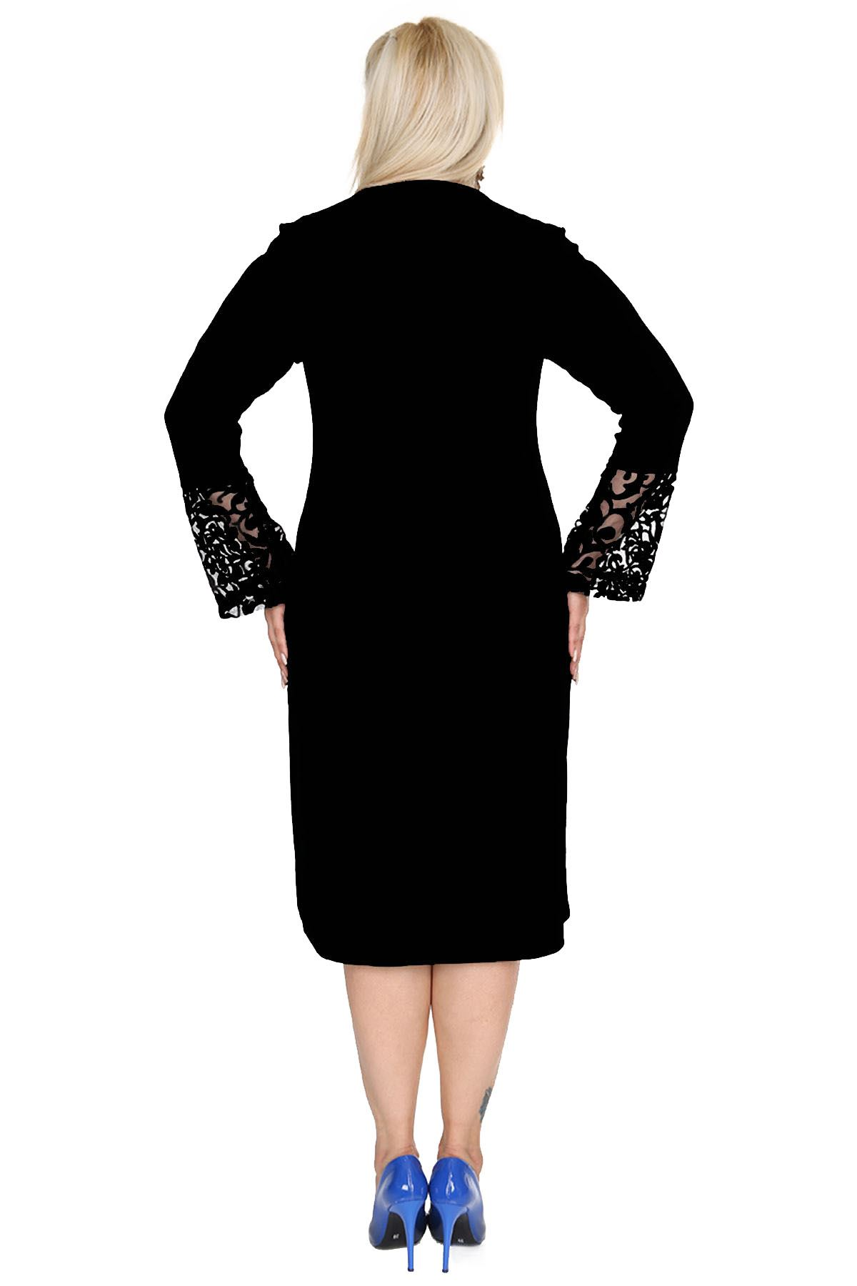 İspanyol Kol Siyah Elbise 4D-69248