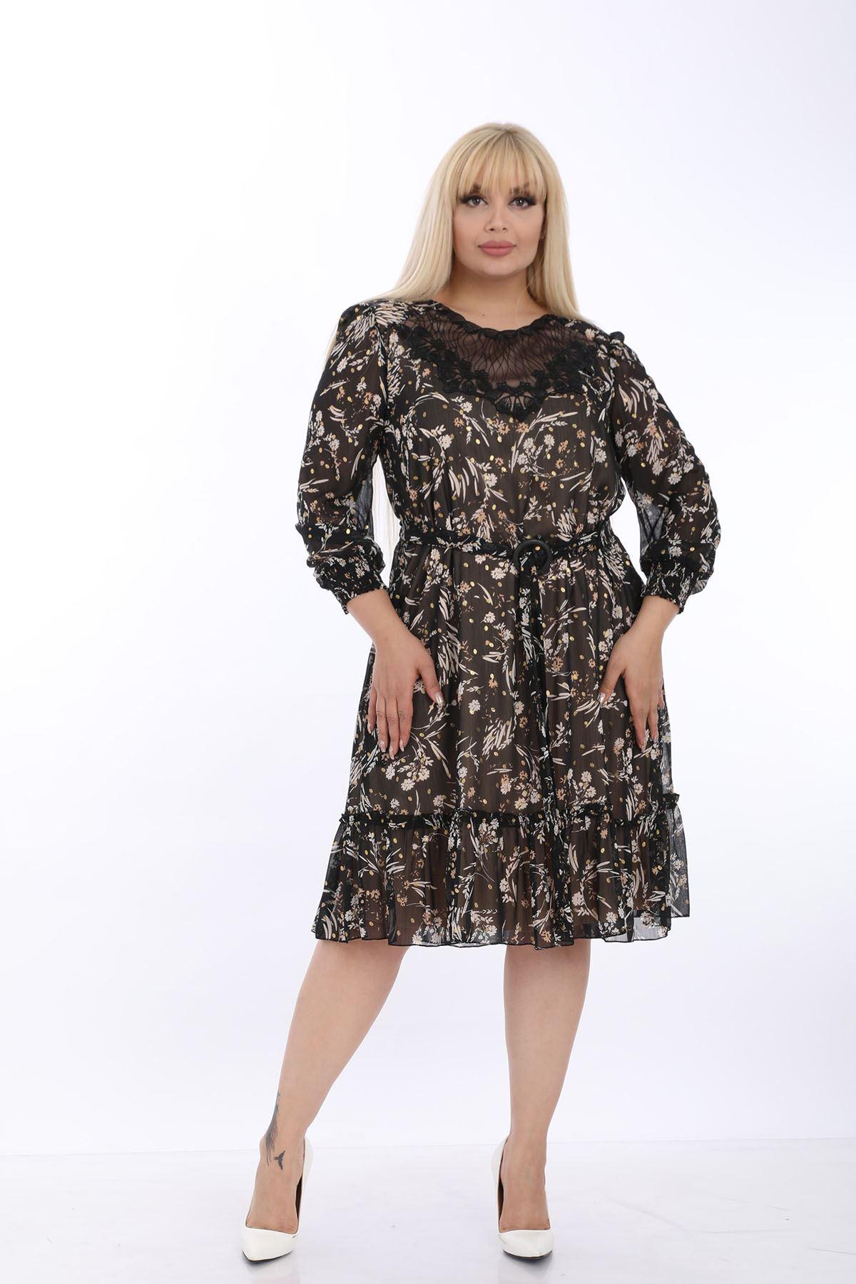 Siyah Kemerli Dantelli Elbise J1-1320