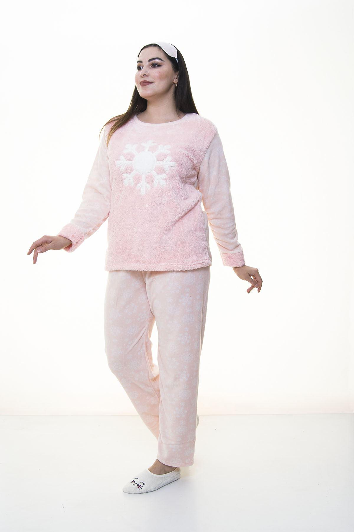 Peluş Polar Pembe Pijama Takımı 32D-1389