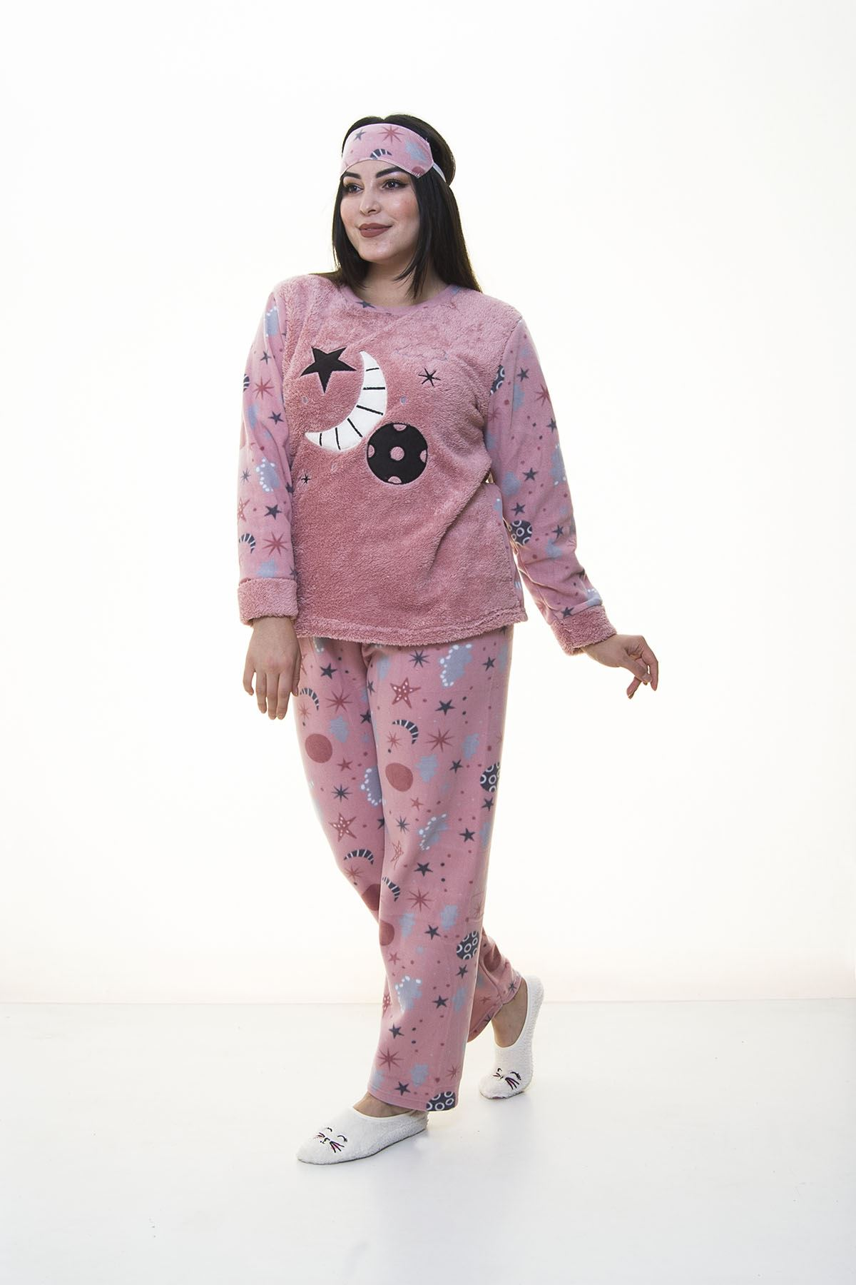 Peluş Pudra Pijama Takımı 32D-1388