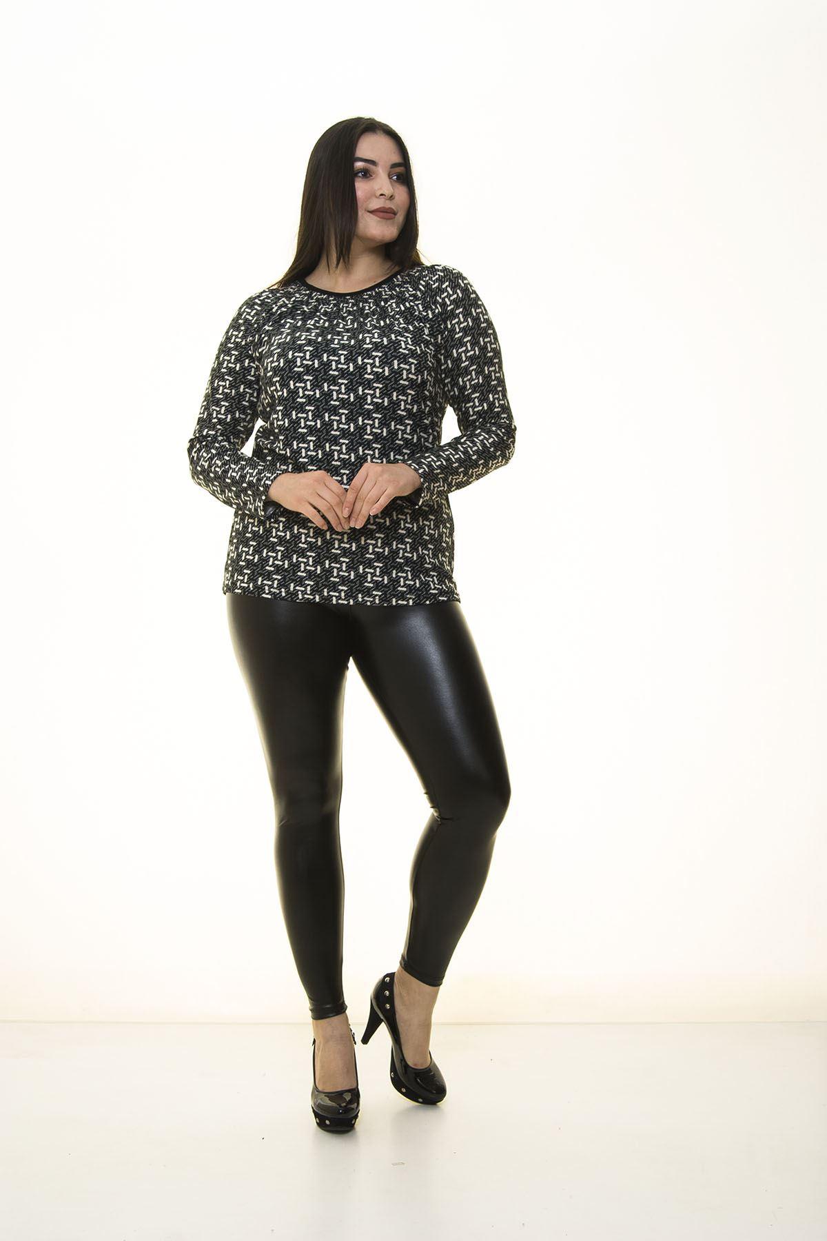 Desenli Siyah Bluz 16C-1393
