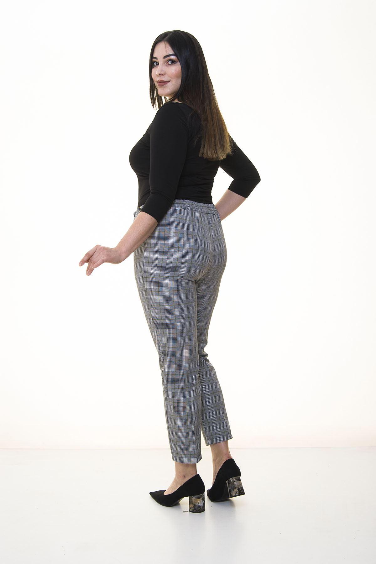 Ekose Desenli Kumaş Pantolon 7C-1365