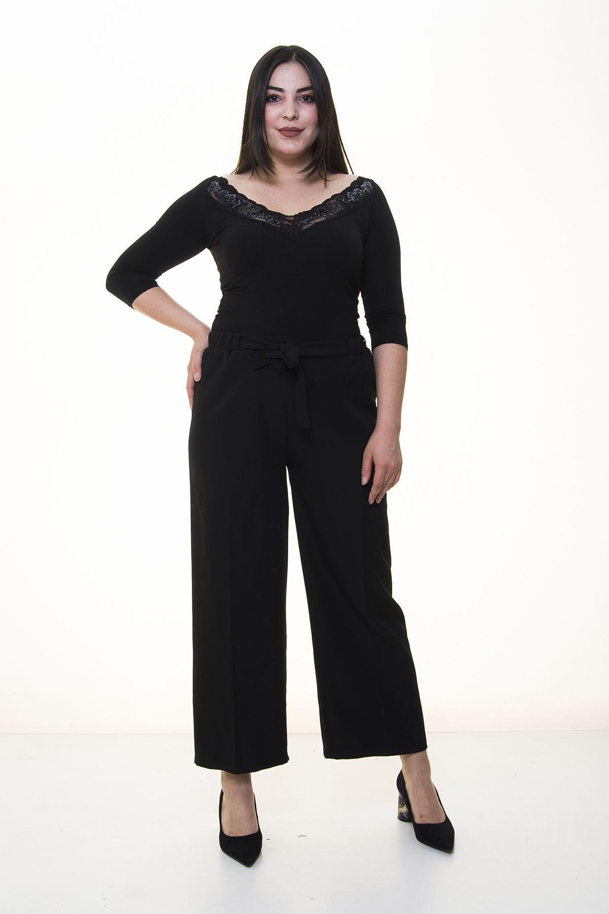 Siyah Bol Paça Pantolon 10A-1359