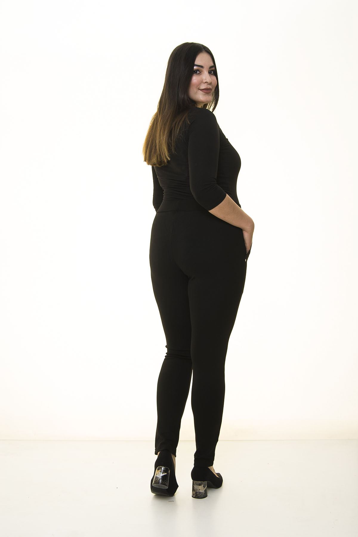 Siyah Cepli Esnek Pantolon Tayt 34C-1373