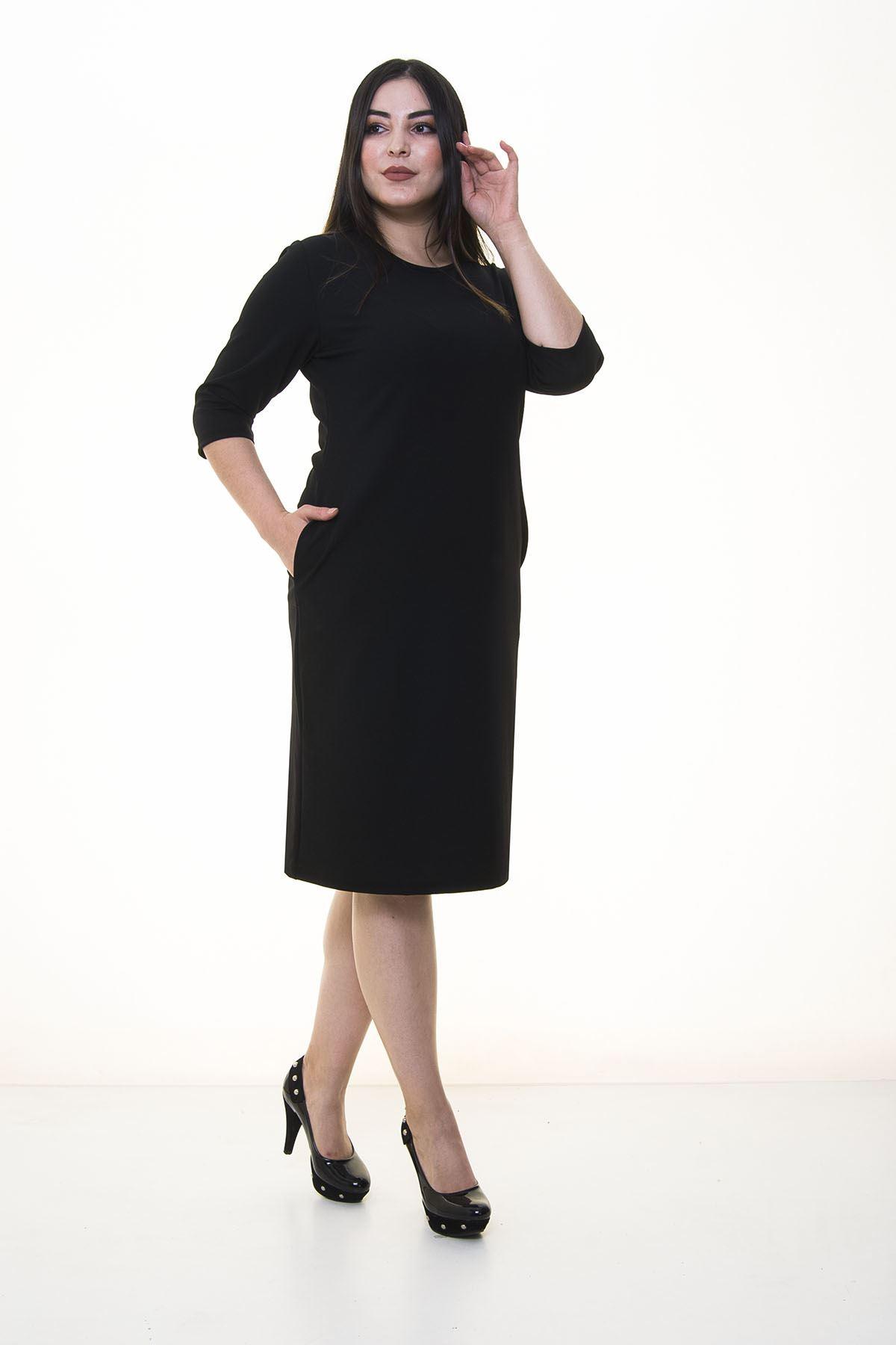 Siyah Cepli Esnek Elbise 34E-1381