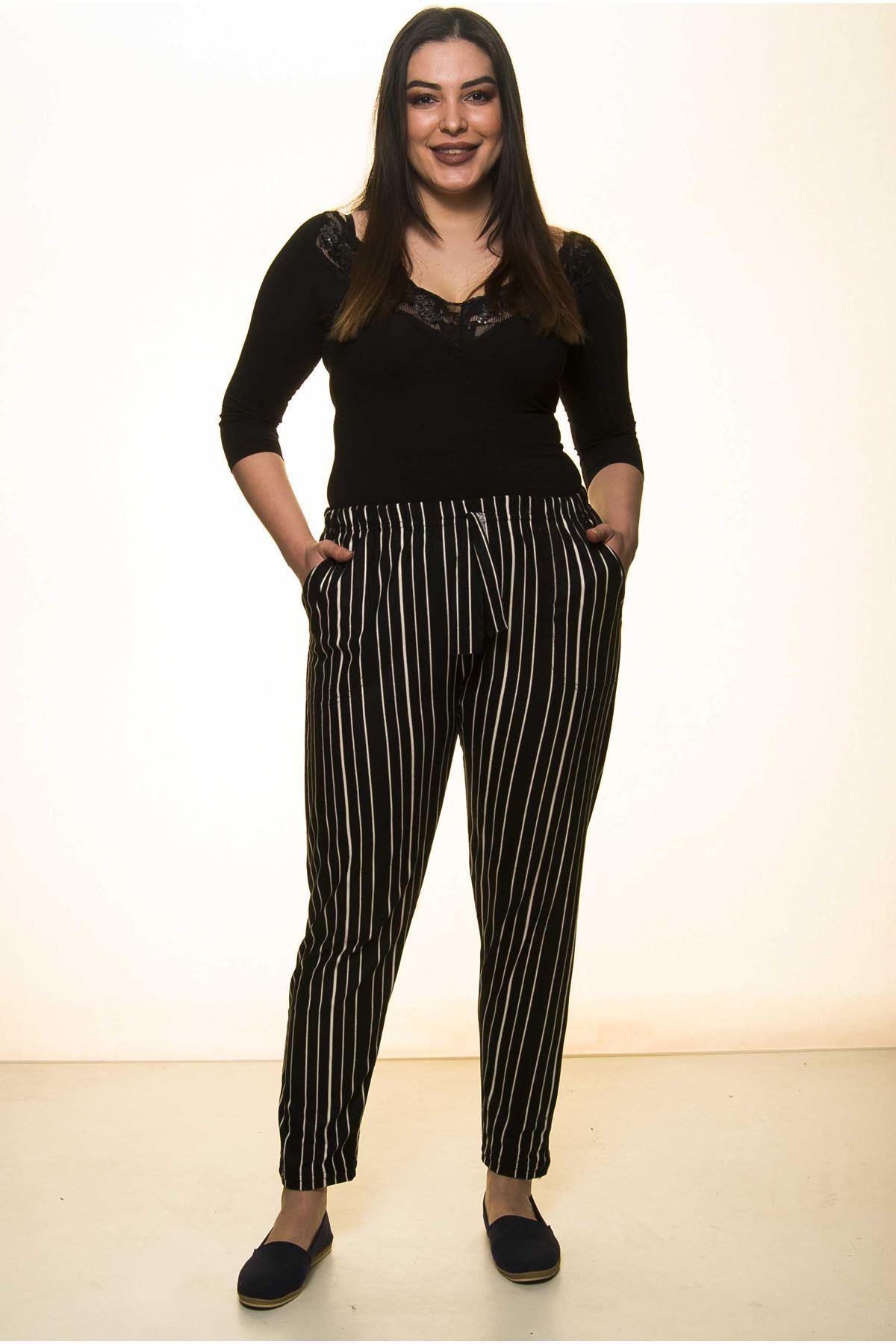 Çizgili Sİyah Büyük Beden Pantolon 23D-1470