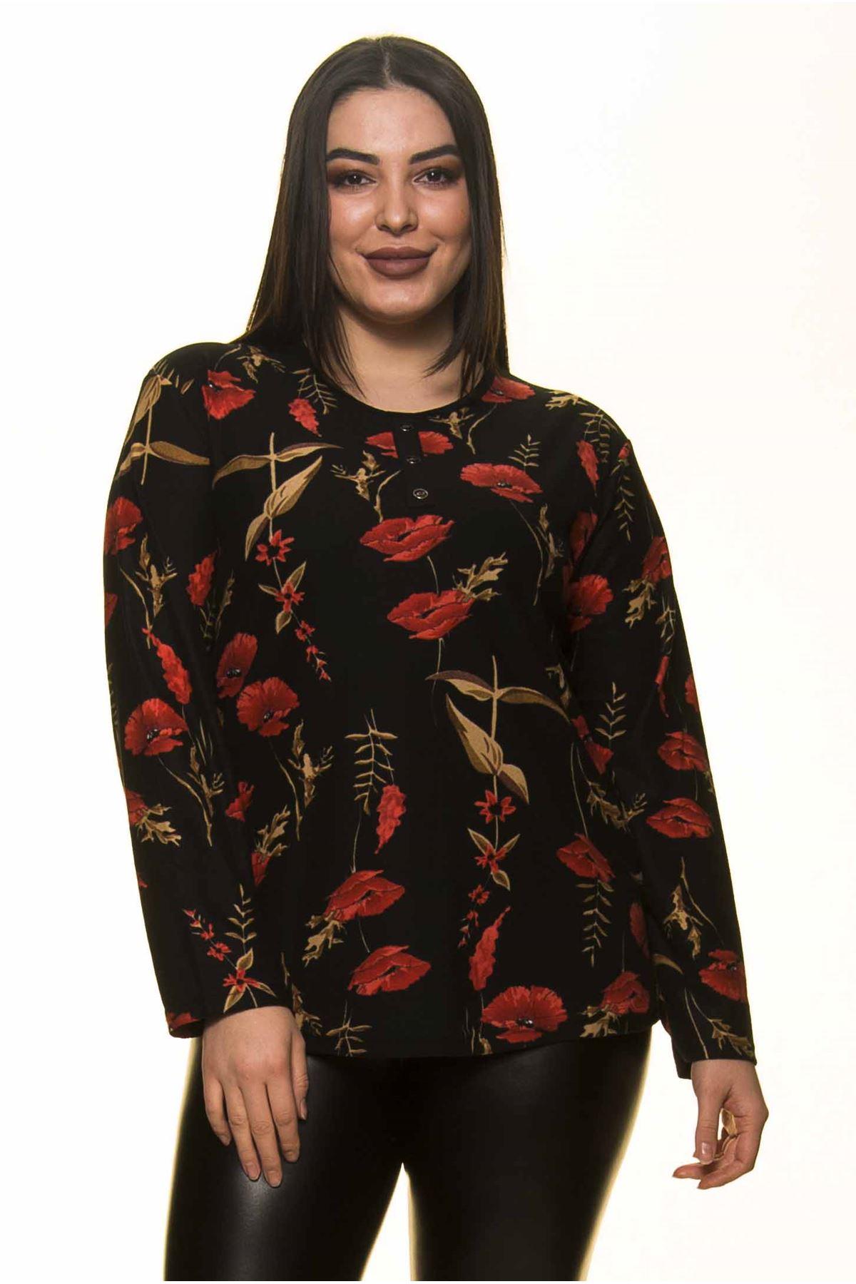 Çiçek Desenli Büyük Beden Bluz 22D-1438