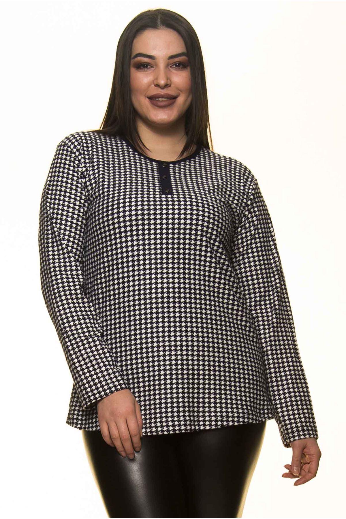 Kazayağı Desenli Büyük Beden Bluz 22D-1437