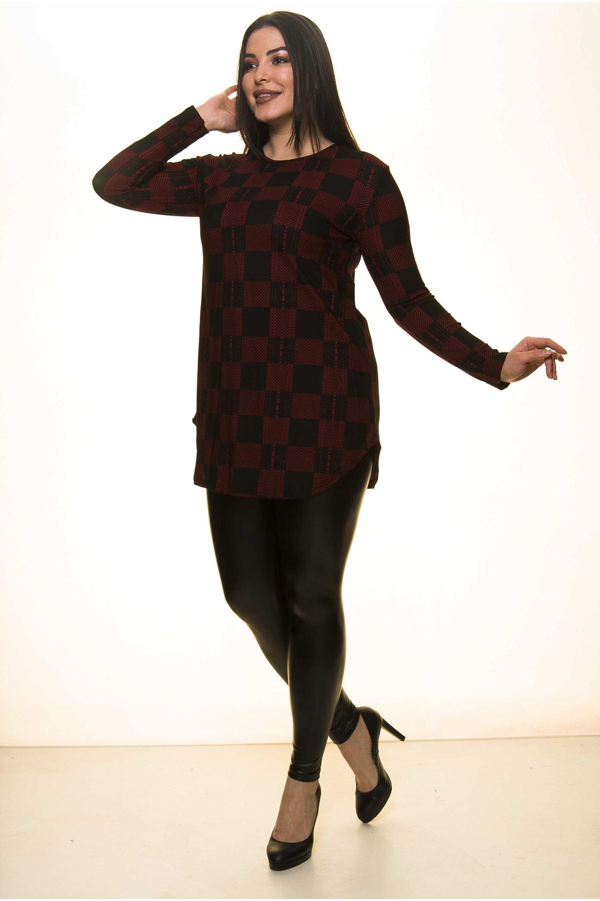 Bordo Siyah Büyük Beden Bluz J1-1447
