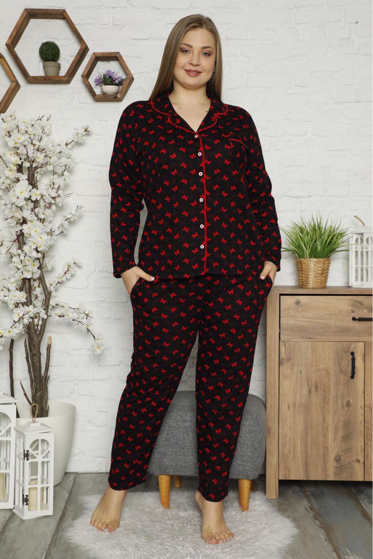 Kelebekli Büyük Beden Pijama Takımı 32E-1480