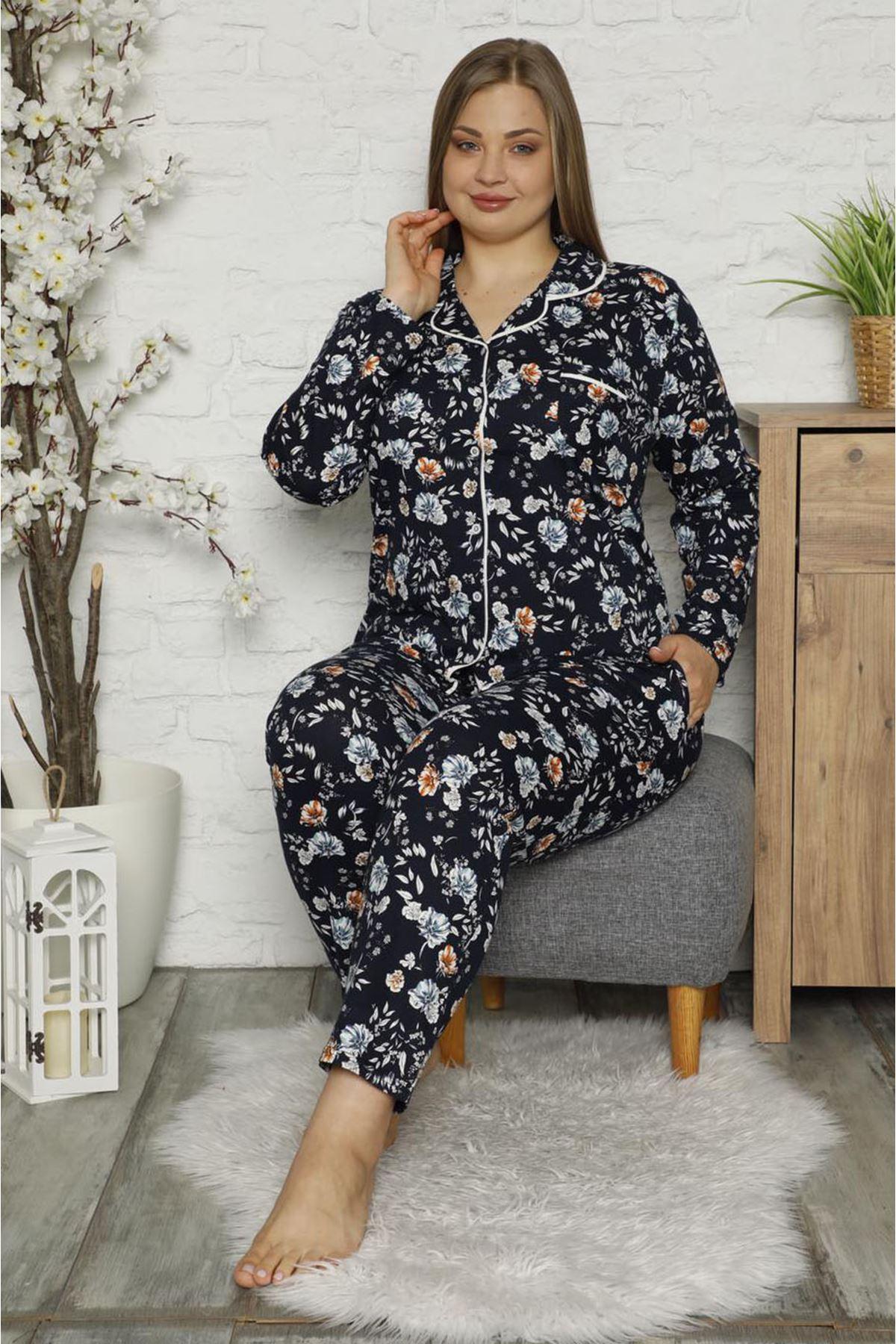 Çiçek Desenli Büyük Beden Pijama Takımı 32E-1481