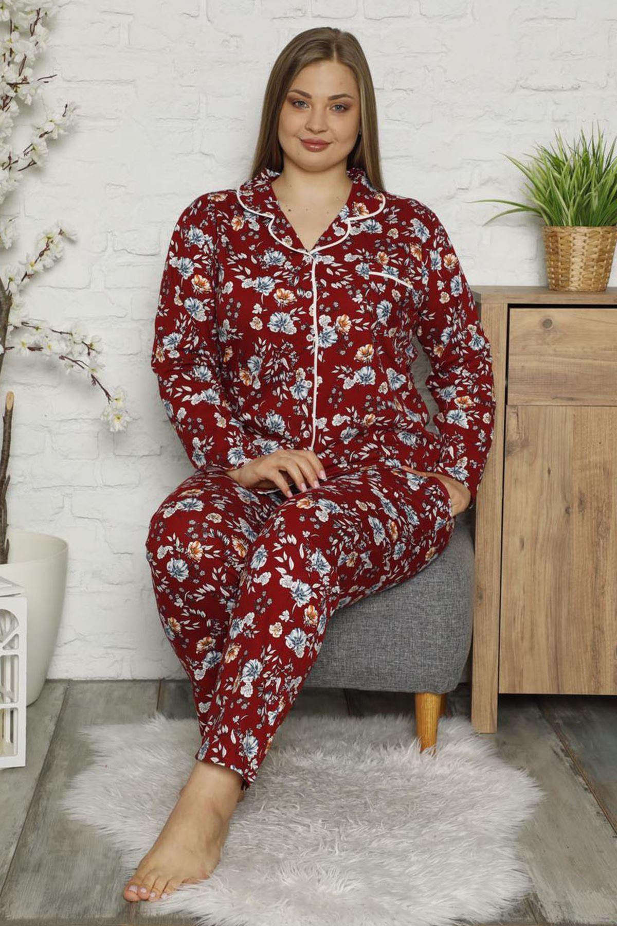 Çiçekli Büyük Beden Pijama Takımı 32E-1482
