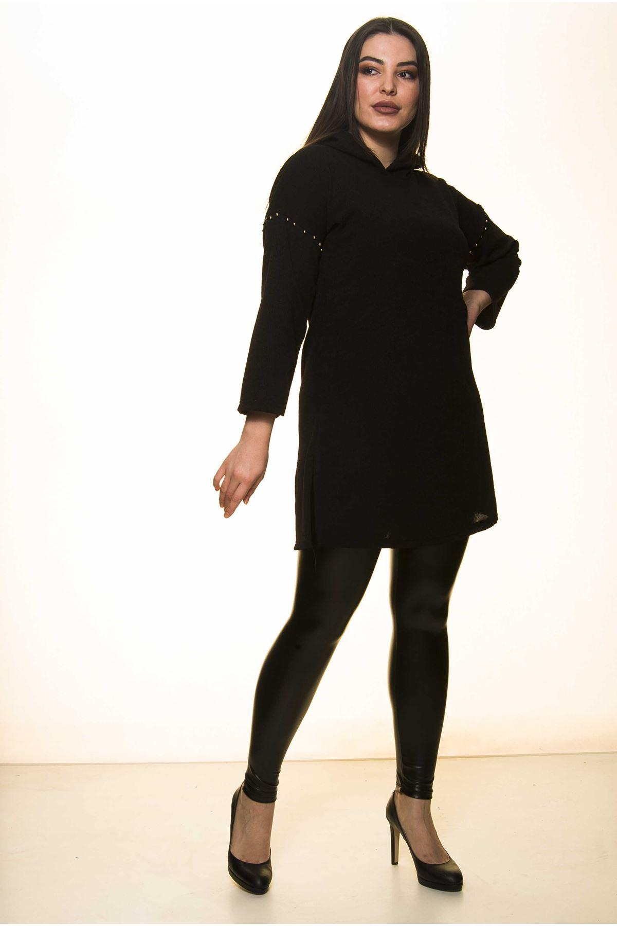 Siyah Kapüşonlu Bluz 2A-1454