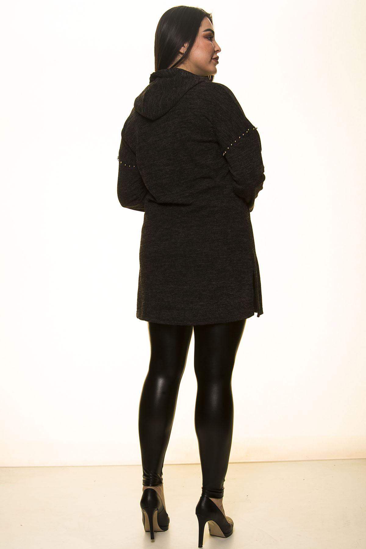 Füme Kapüşonlu Bluz 2A-1457
