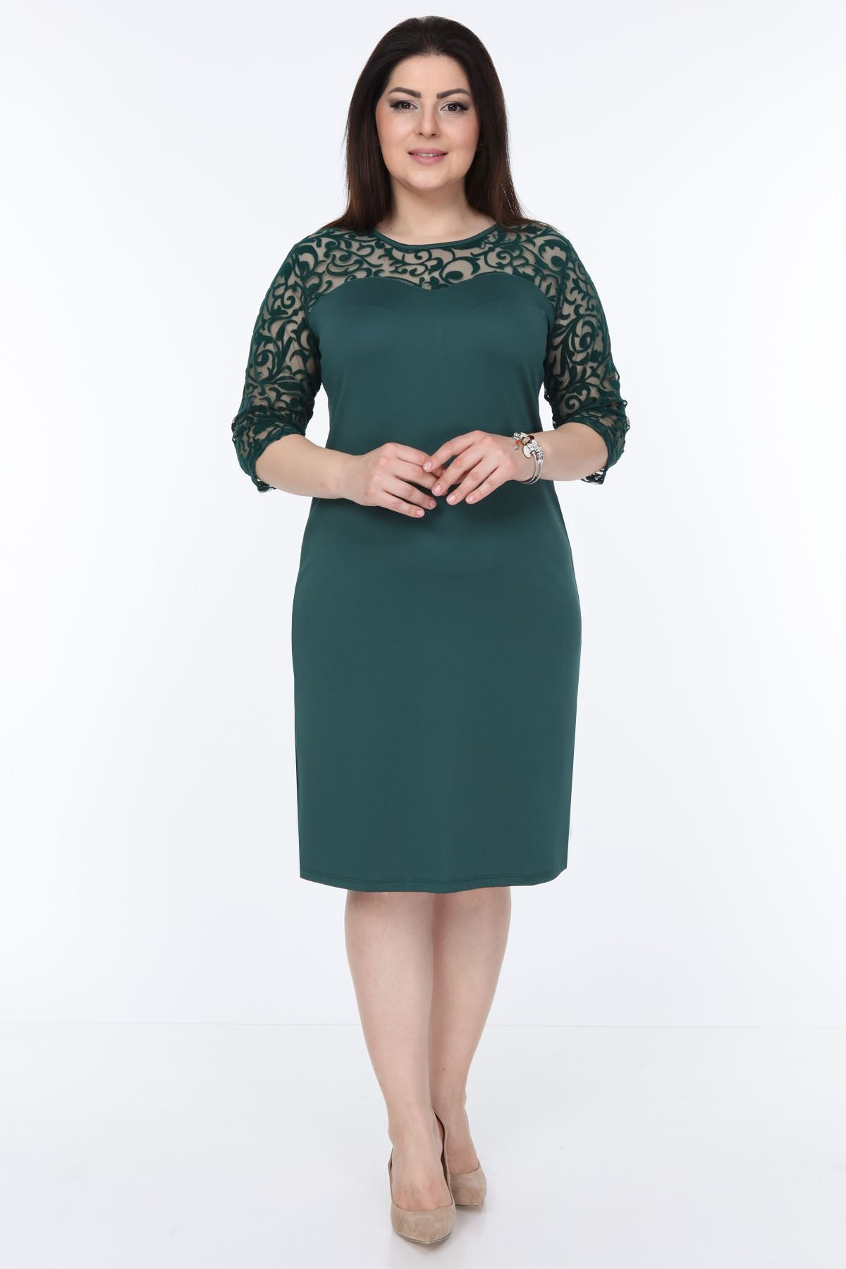 Yeşil Floklu Elbise 15C-1034