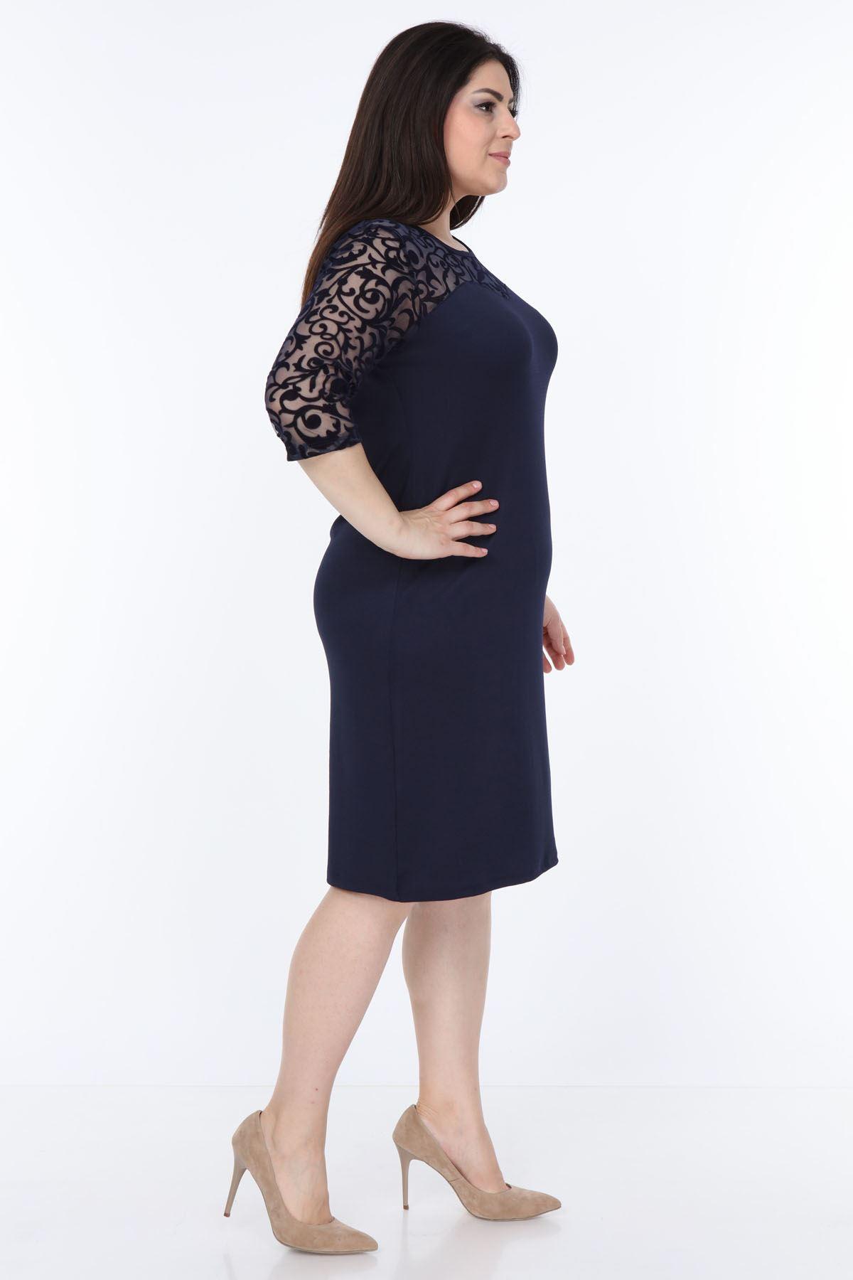 Lacivert Floklu Elbise 2B-1032