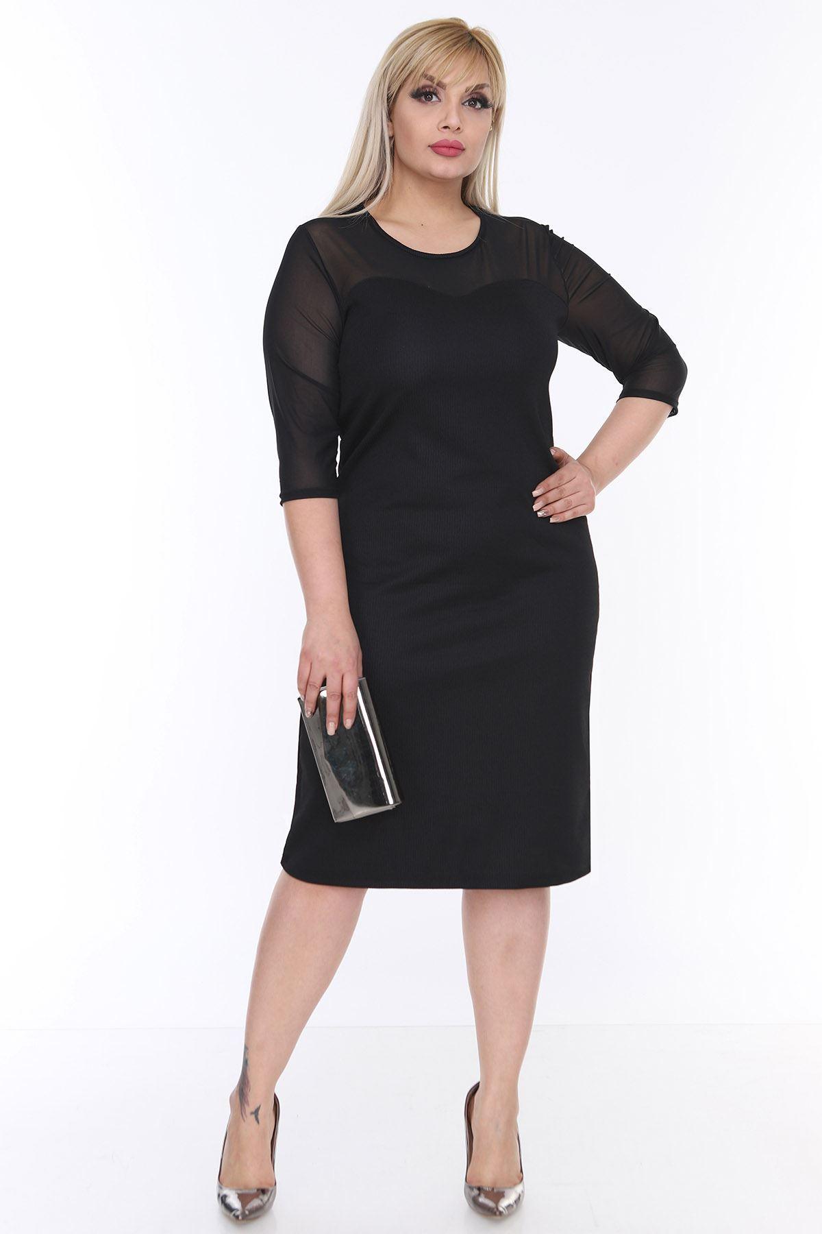 Tül Kol Siyah Elbise 3B-0207