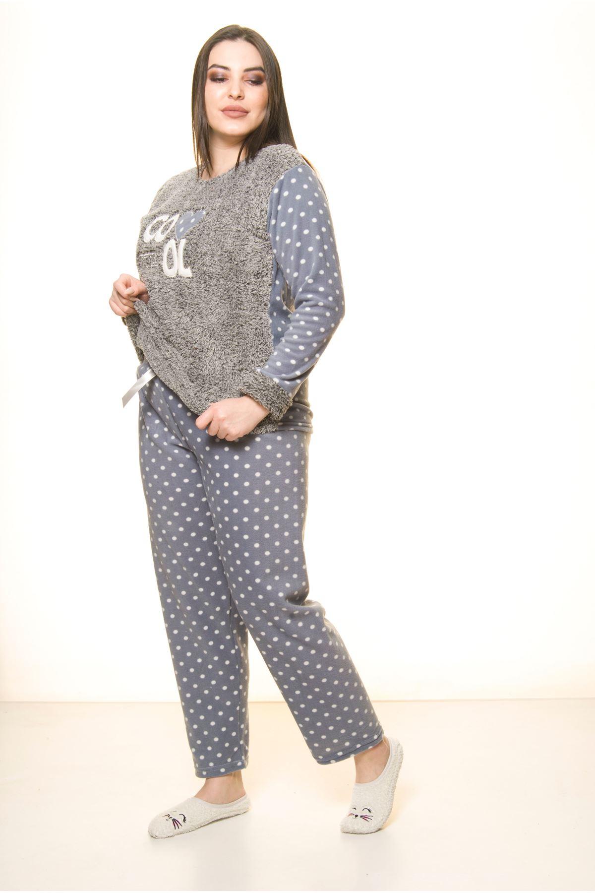 Polar Peluş Kışlık Pijama Takımı 32C-1514
